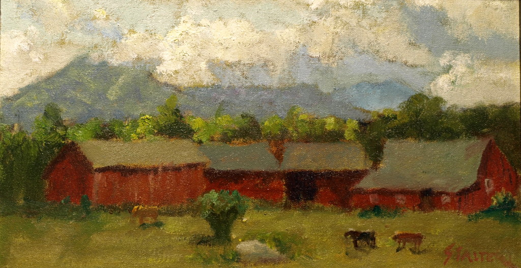 Bill Newton's Cows, Oil on Canvas on Panel, 8 x 14 Inches, by Richard Stalter, $225
