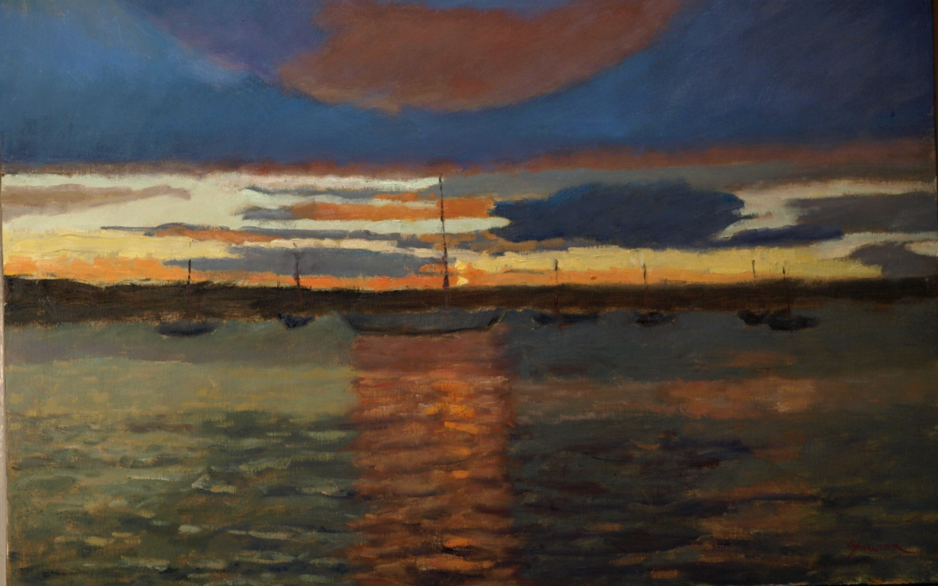 Sunset - Naragansett Bay, Oil on Canvas, 20 x 24 Inches, by Richard Stalter, $1200