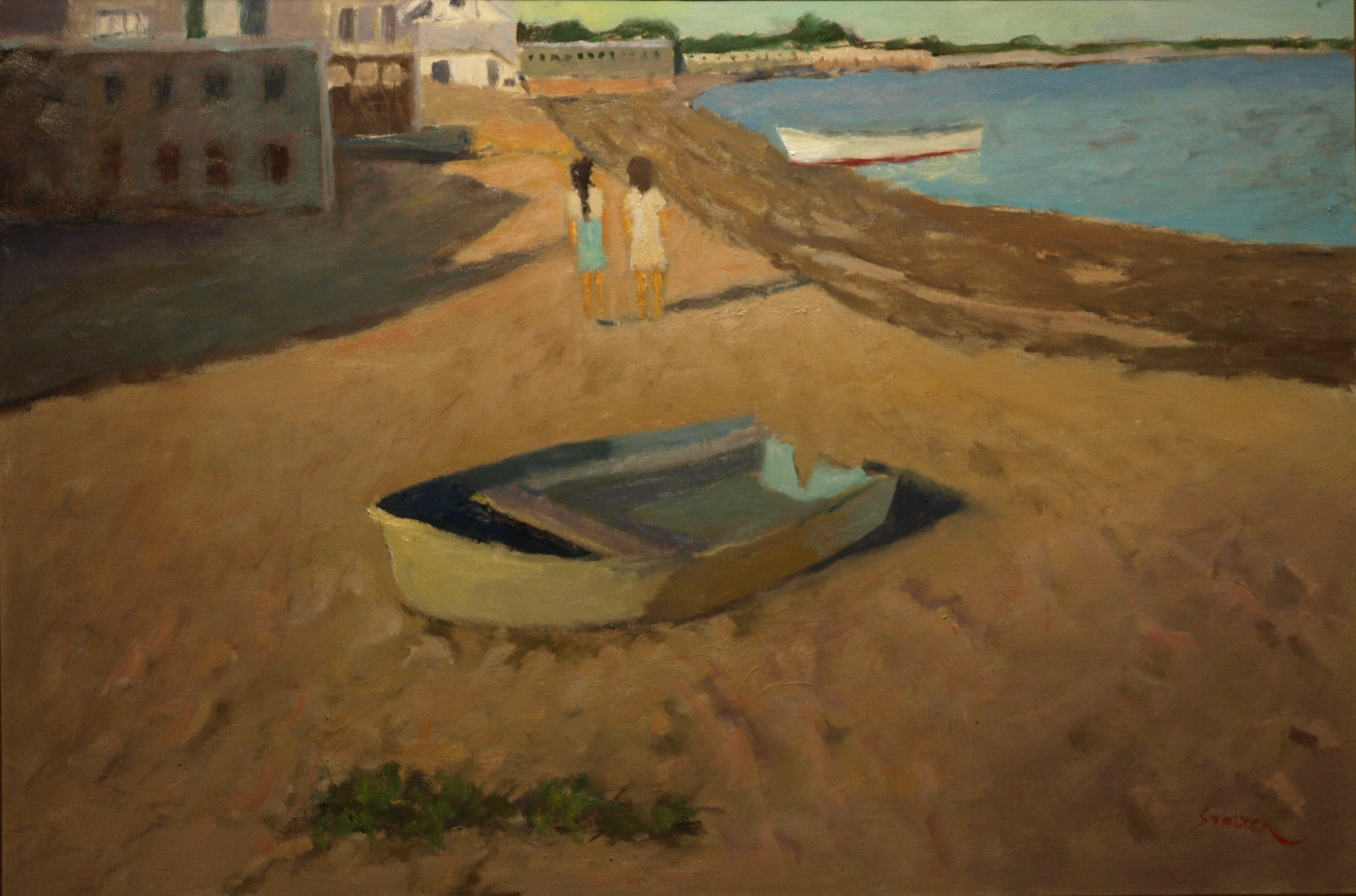 Beached Rowboat, Oil on Canvas, 24 x 36 Inches, by Richard Stalter, $1200