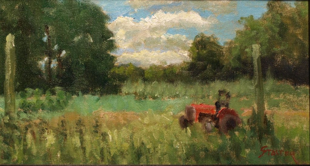 Megan's Tractor, Oil on Canvas on Panel, 8 x 14 Inches, by Richard Stalter, $225