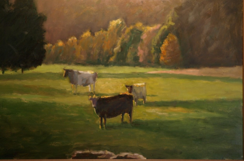 Sunlit Cows, Oil on Canvas, 24 x 36 Inches, by Richard Stalter, $1200