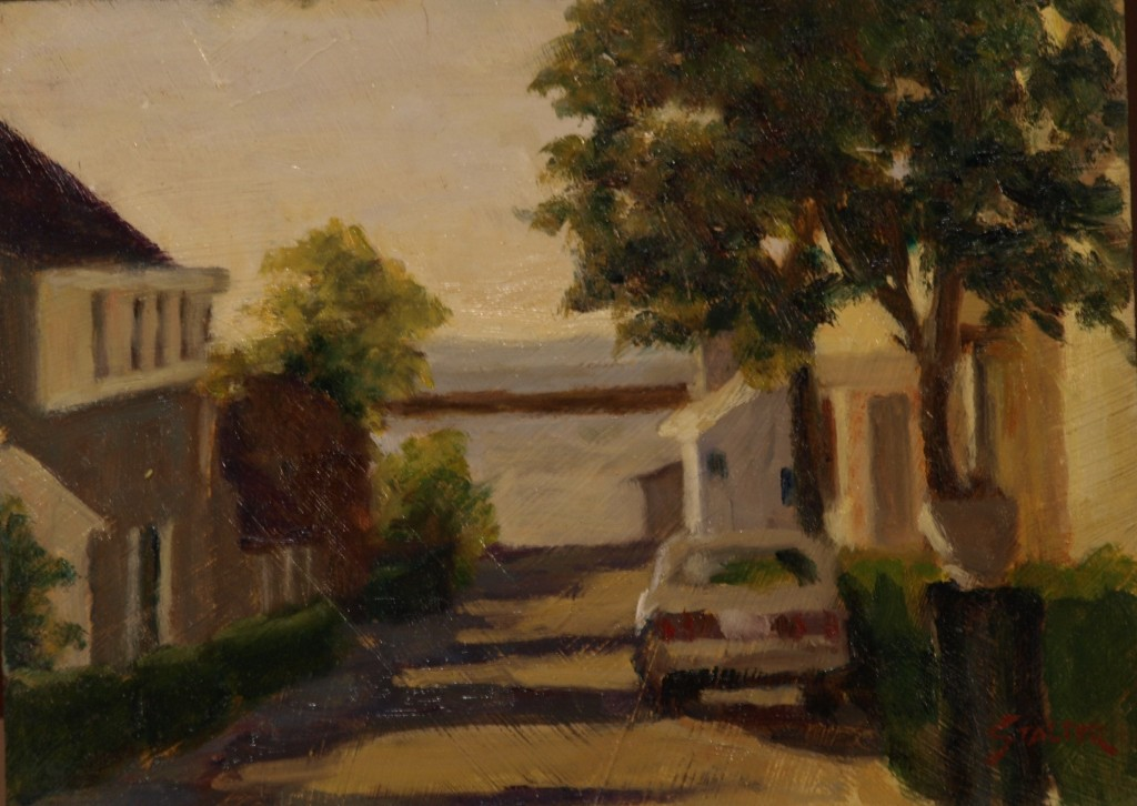Provincetown Street, Oil on Panel, 9 x 12 Inches, by Richard Stalter, $225