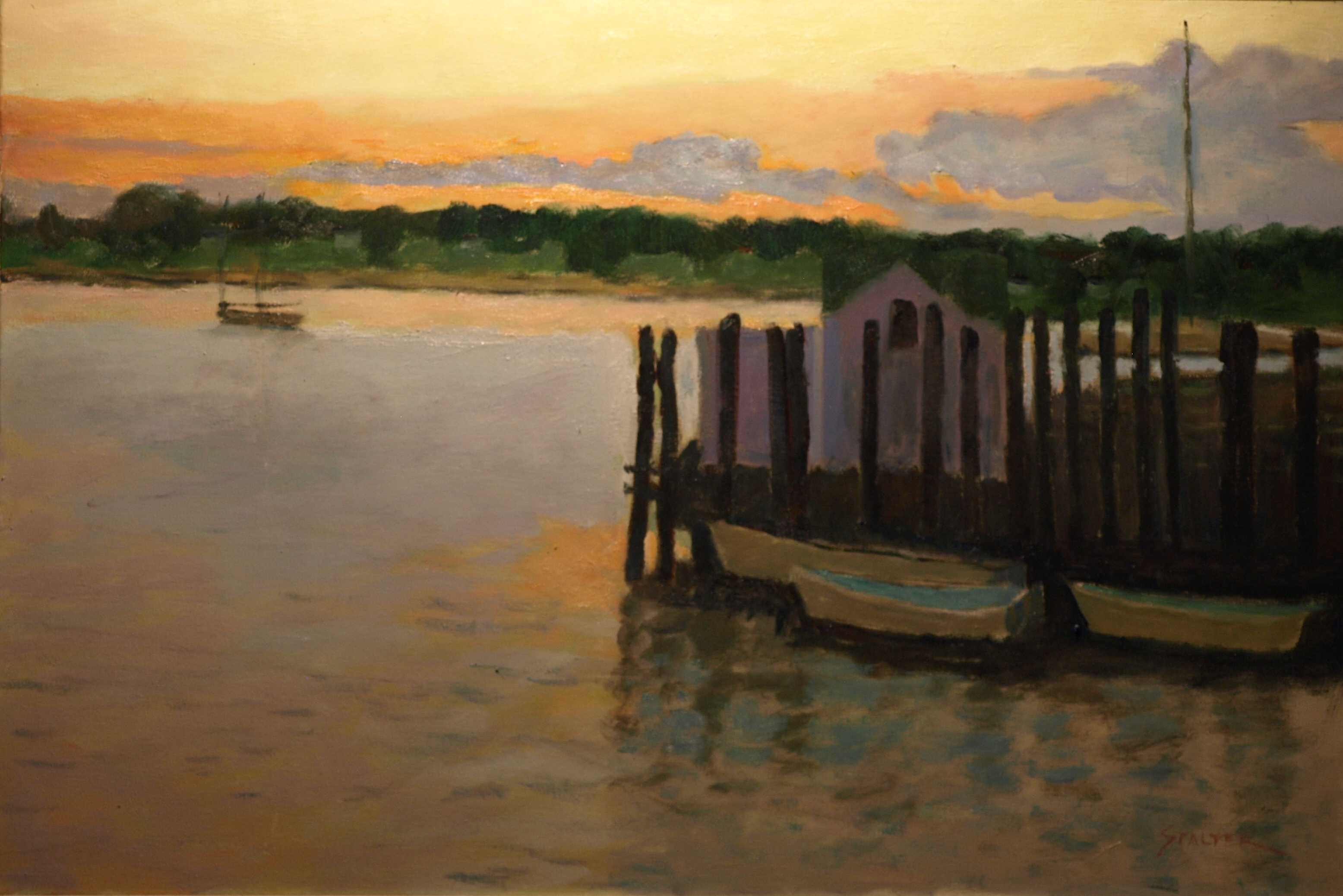 Dockside Sunset, Oil on Canvas, 24 x 36 Inches, by Richard Stalter, $1200q