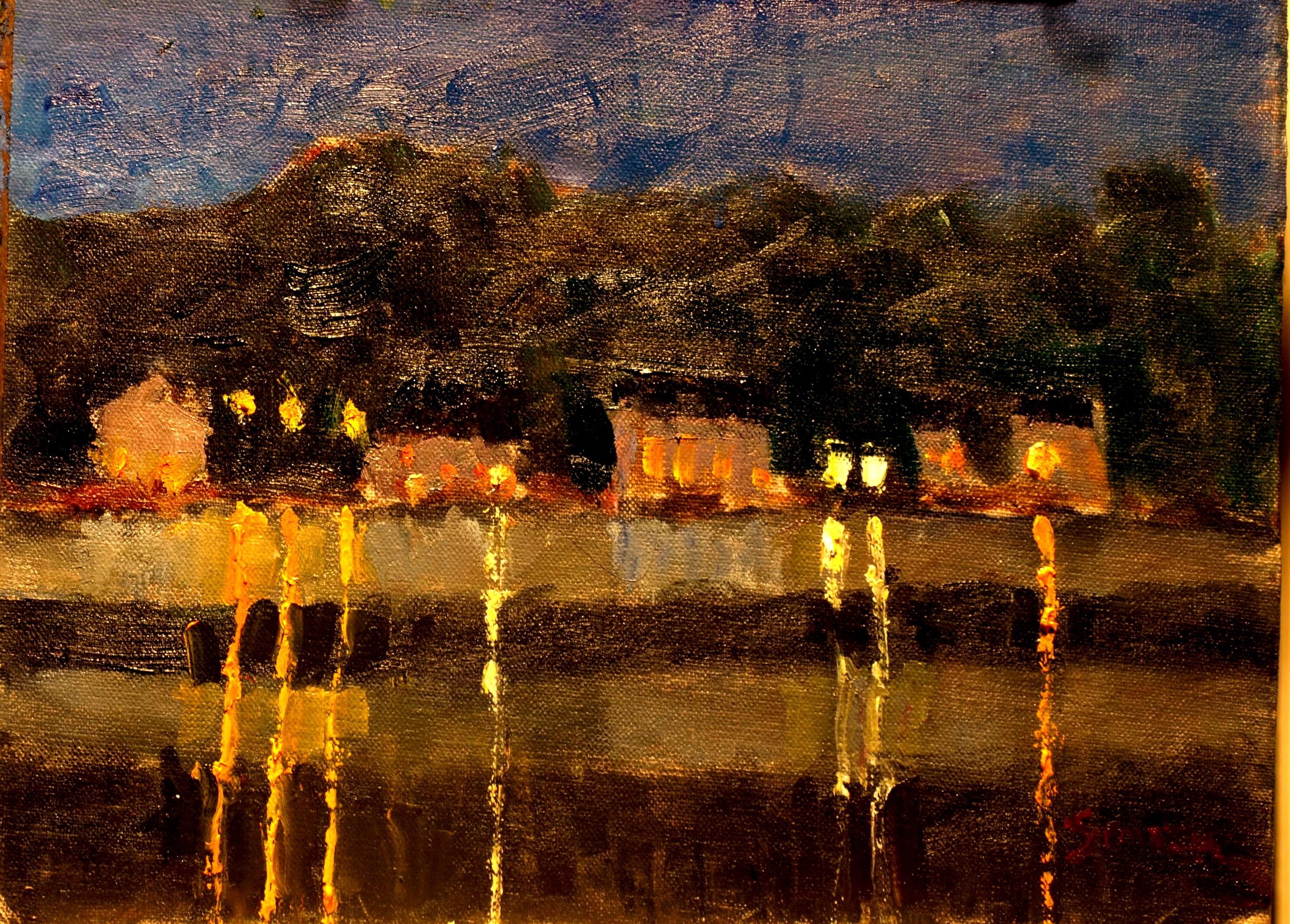 Mystic River Reflections, Oil on Canvas on Panel, 9 x 12 Inches, by Richard Stalter, $225