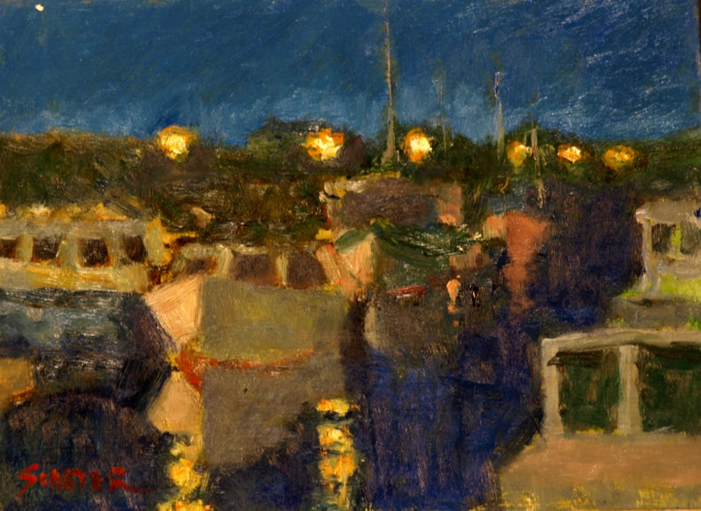 Fishing Boats - Night, Oil on Panel, 9 x 12 Inches, by Richard Stalter, $225
