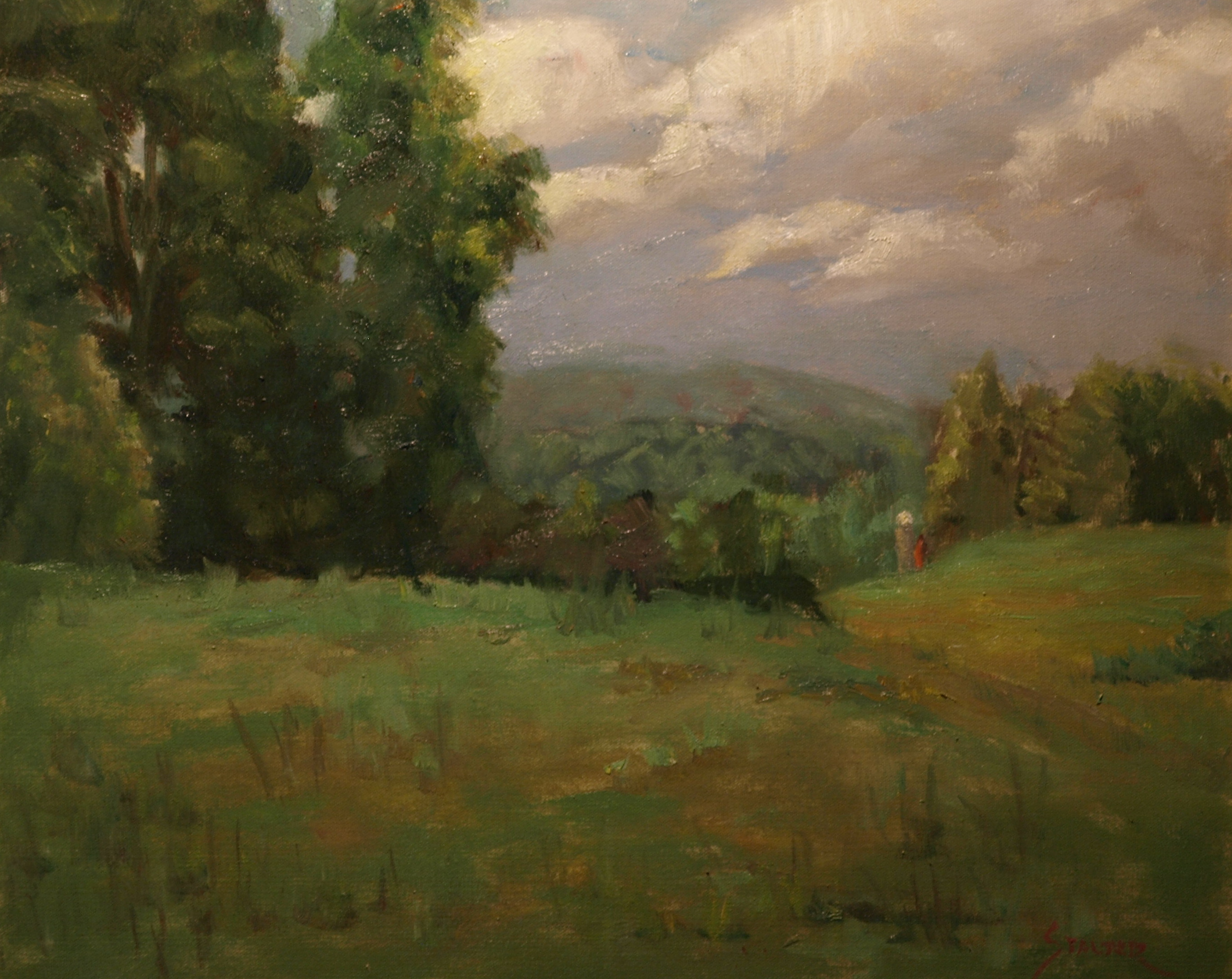 Across the Valley, Oil on Canvas, 20 x 24 Inches, by Richard Stalter, $650