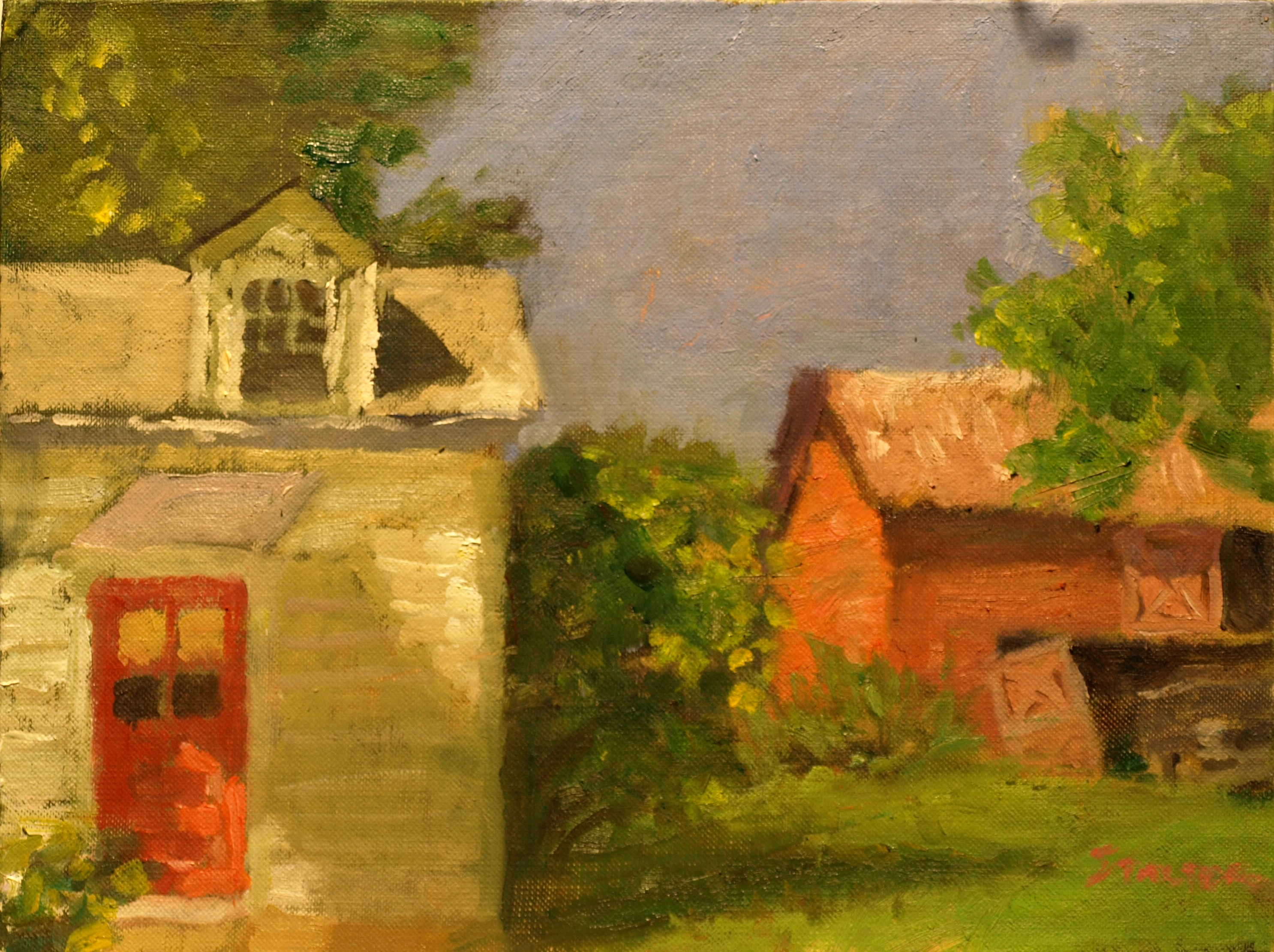 Red Farmhouse Door, Oil on Canvas on Panel, 9 x 12 Inches, by Richard Stalter, $225