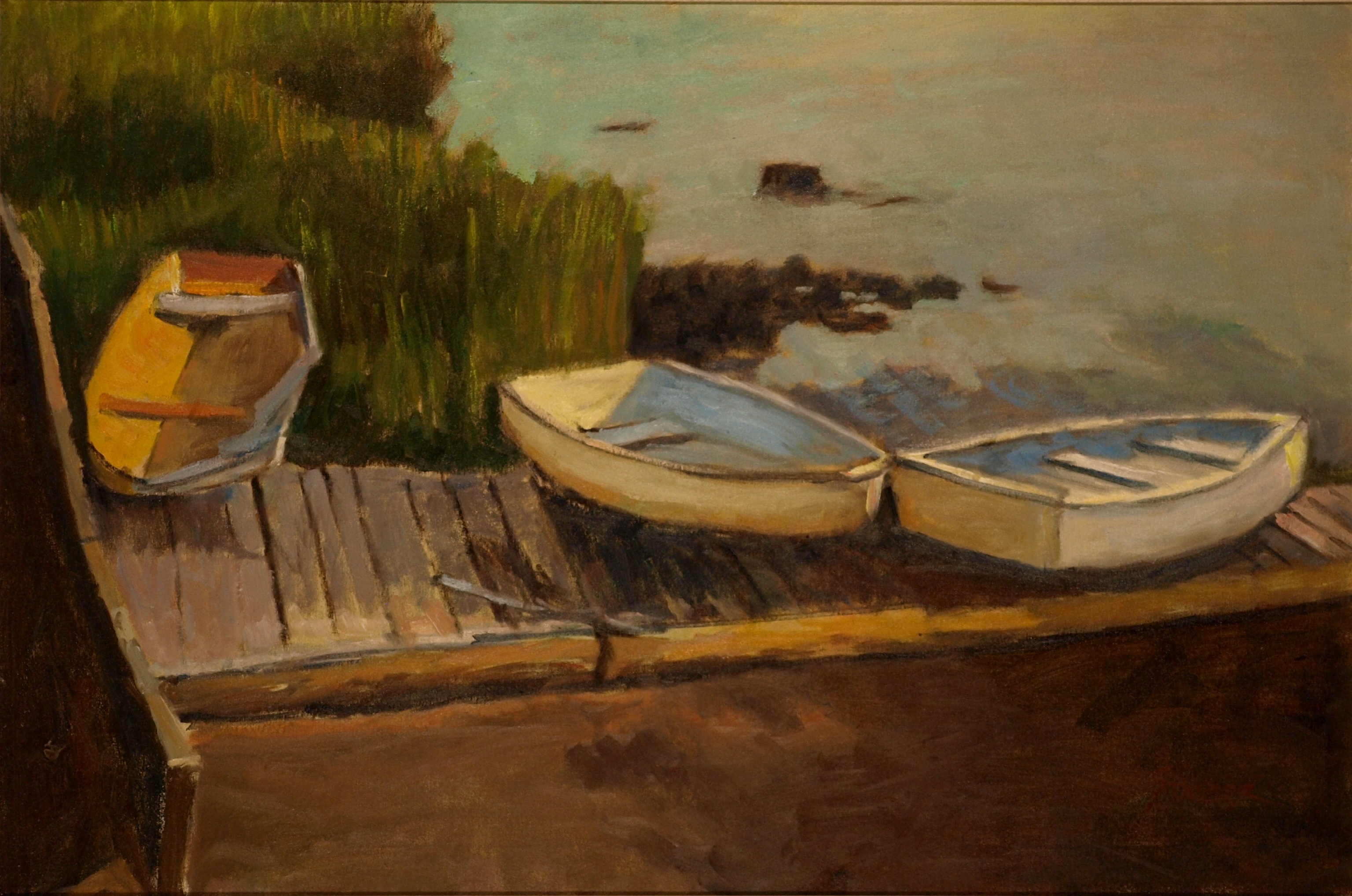 Rowboats on Dock, Oil on Canvas, 24 x 36 Inches, by Richard Stalter, $1200