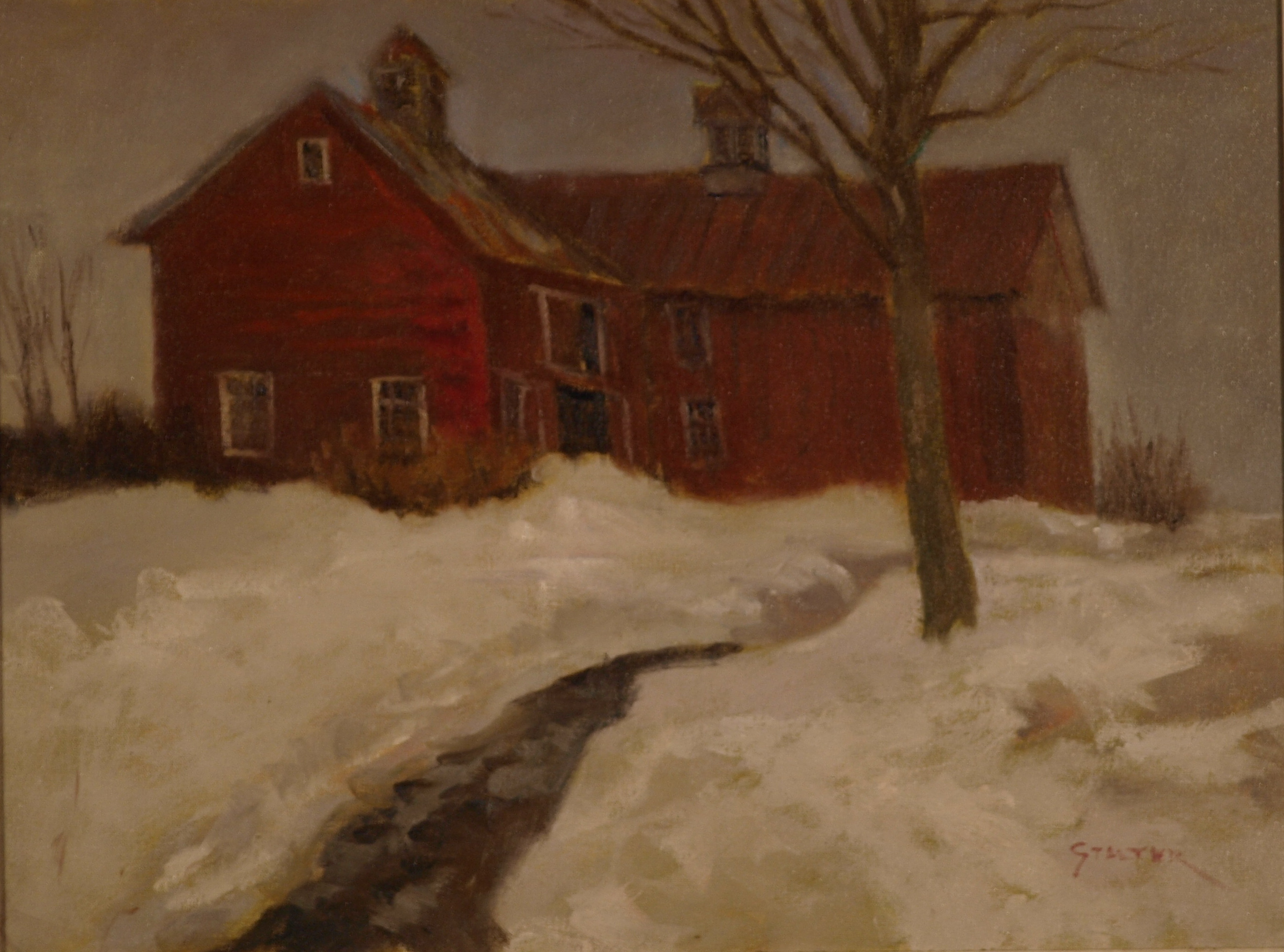 Yale Farm in Snow, Oil on Canvas, 18 x 24 Inches, by Richard Stalter, $600