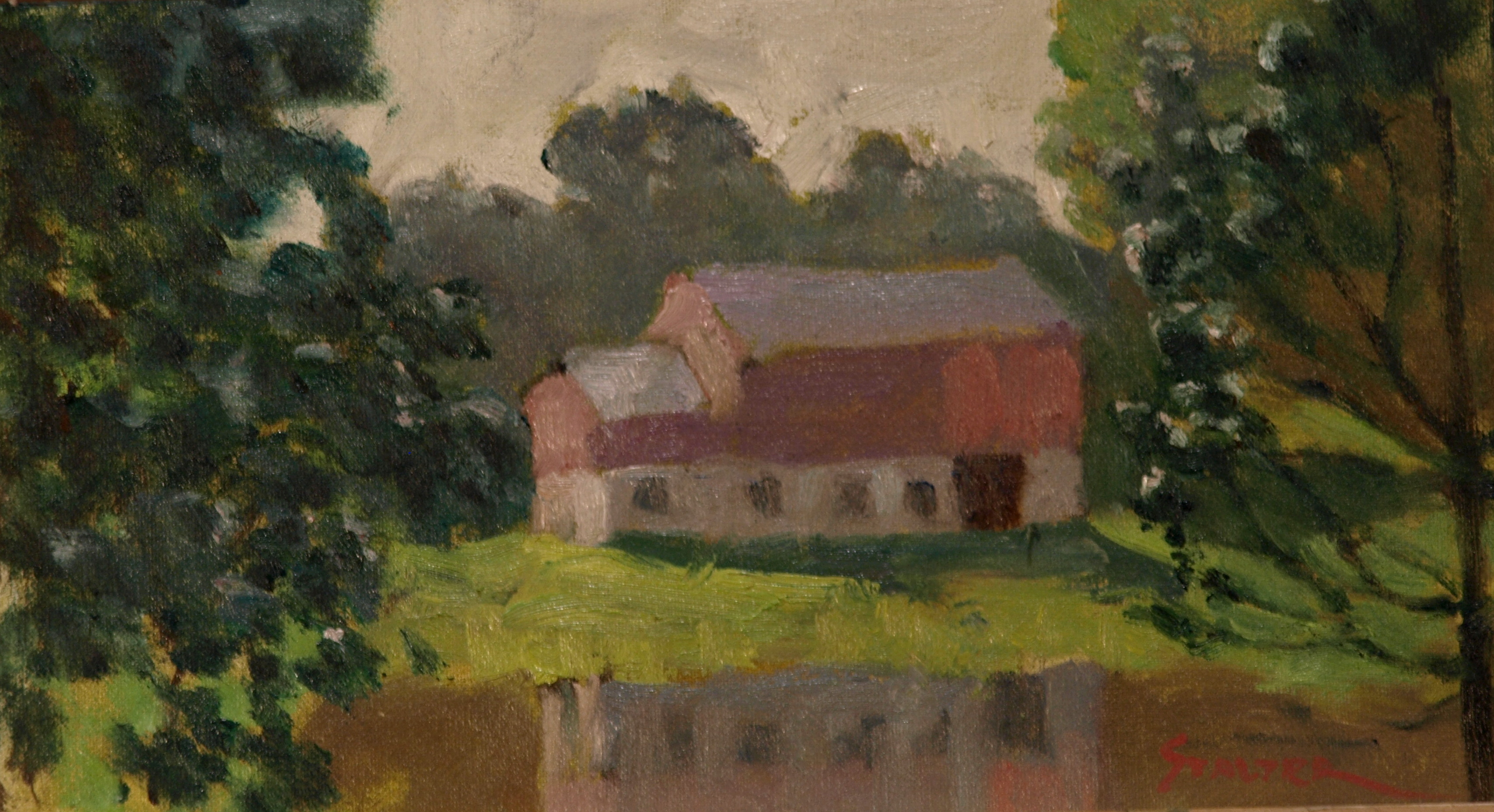 Reflected Barn, Oil on Canvas on Panel, 8 x 14 Inches, by Richard Stalter, $225