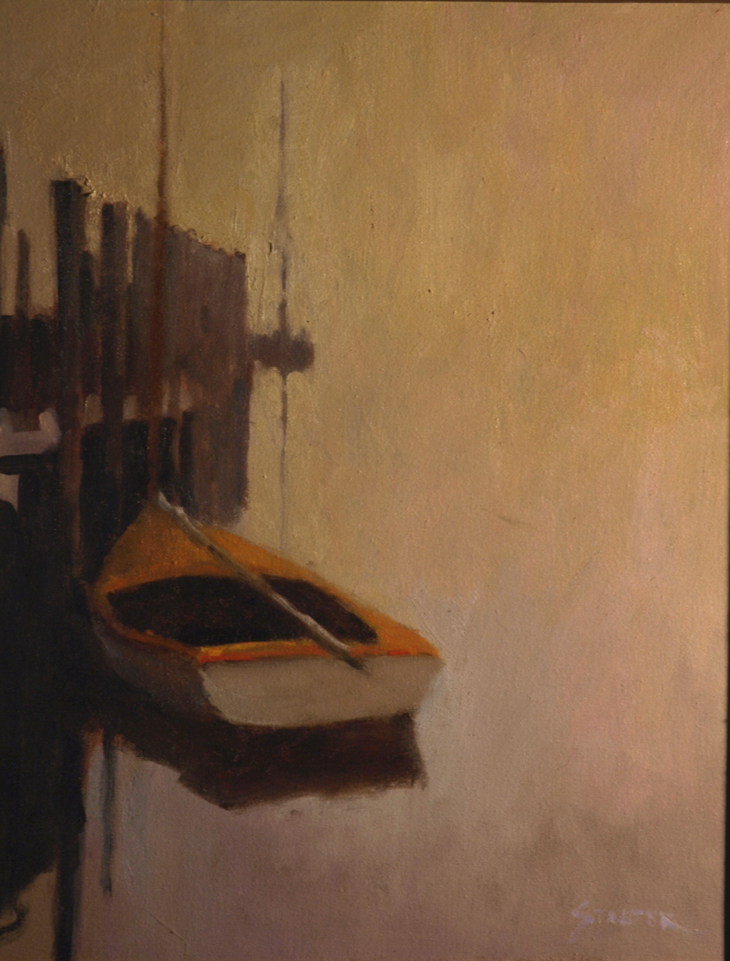 Foggy Day - Dockside, Oil on Canvas, 16 x 20 Inches, by Richard Stalter, $650