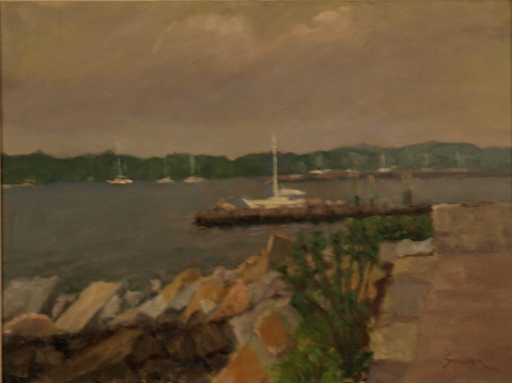 Gray Day - Stonington Beach, Oil on Canvas, 18 x 24 Inches, by Richard Stalter, $600