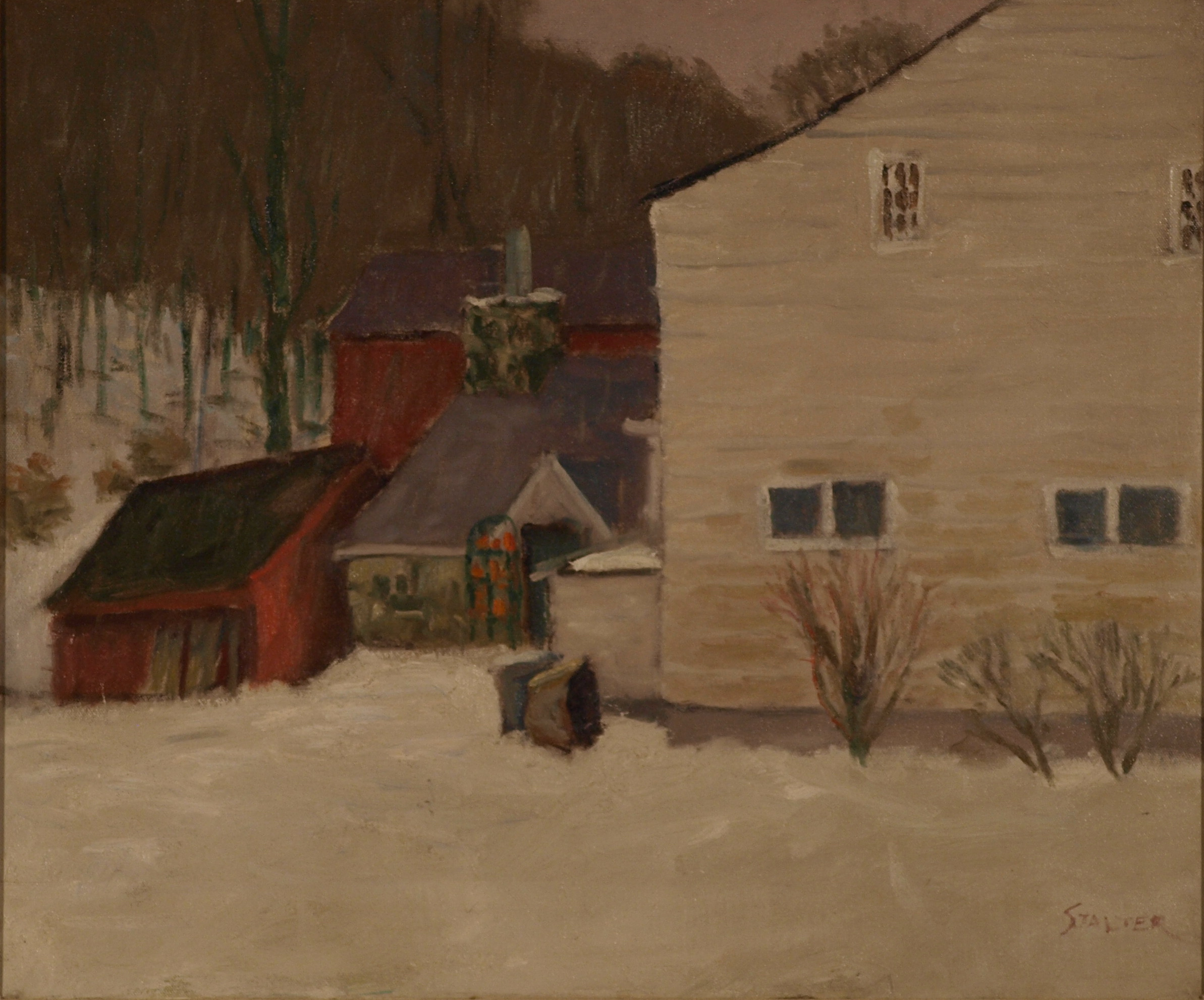 Pilieros - Gray Winter Day, Oil on Canvas, 20 x 24 Inches, by Richard Stalter, $650
