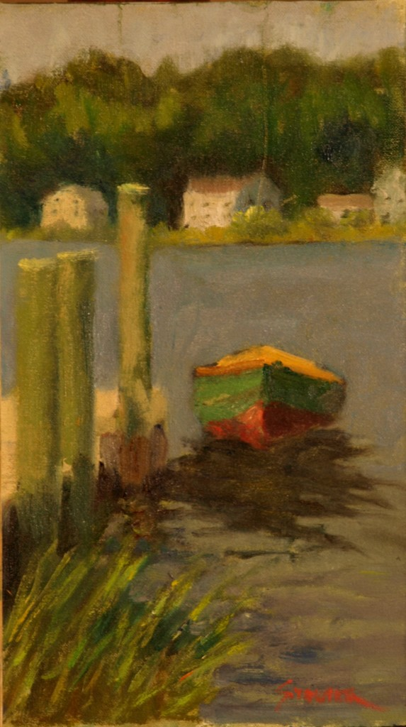 Dockside Dory, Oil on Canvas on Panel, 14 x 8 Inches, by Richard Stalter, $225