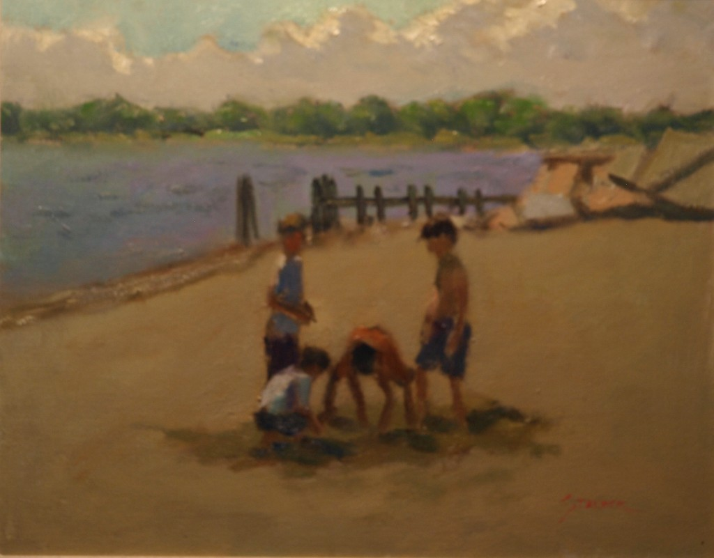 Boys on Stonington Beach, Oil on Canvas, 16 x 20 Inches, by Richard Stalter, $450