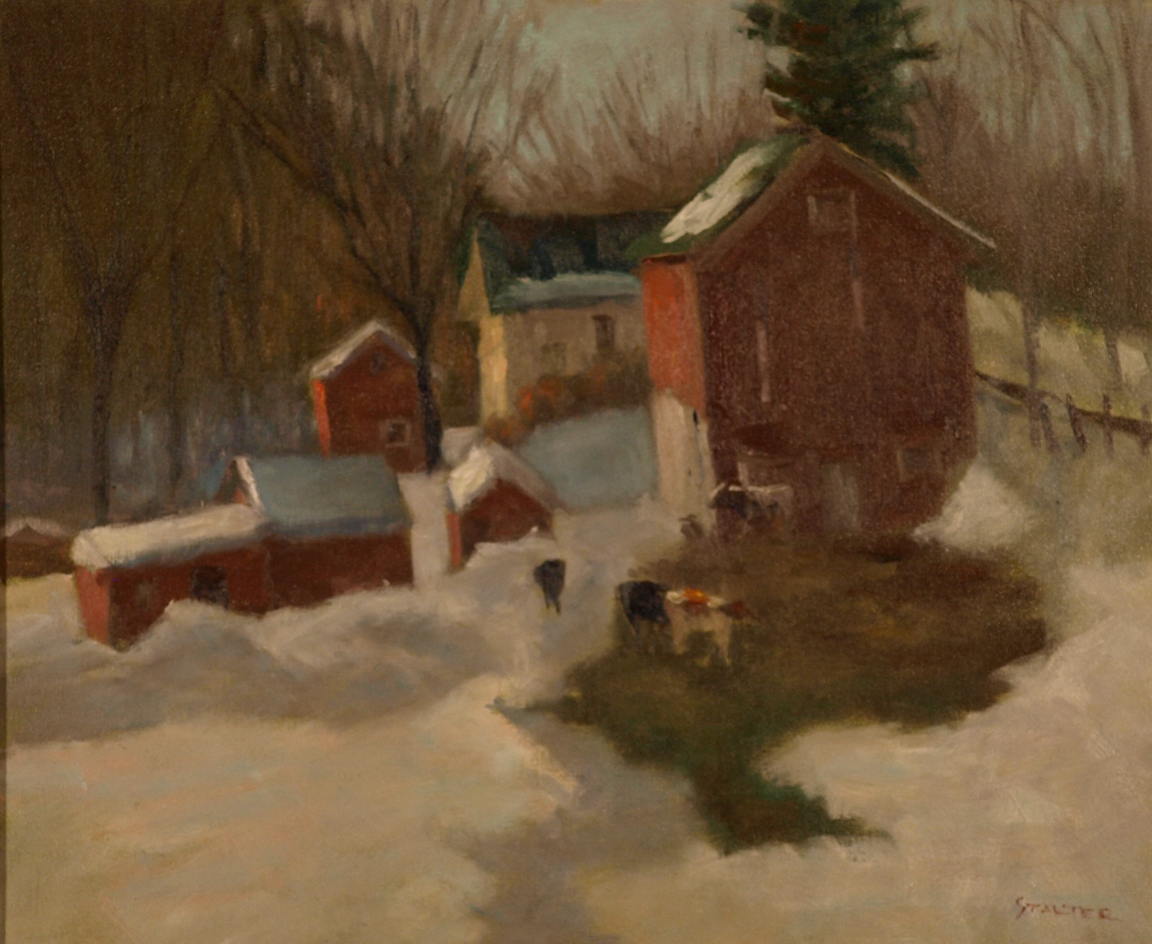 Cows Are Out - Hipp Farm, Oil on Canvas, 20 x 24 Inches, by Richard Stalter, $650
