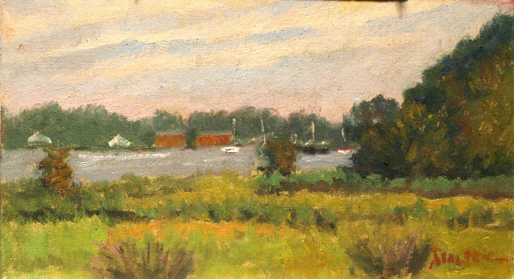 Mystic River Marsh, Oil on Canvas on Panel, 8 x 14 Inches, by Richard Stalter, $225