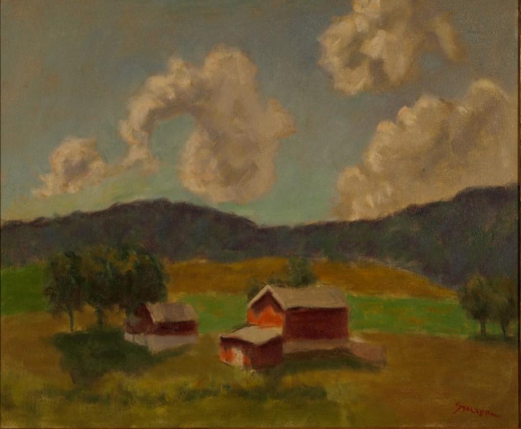 Sunlit Farm Near Amenia, Oil on Canvas, 20 x 24 Inches, by Richard Stalter, $650