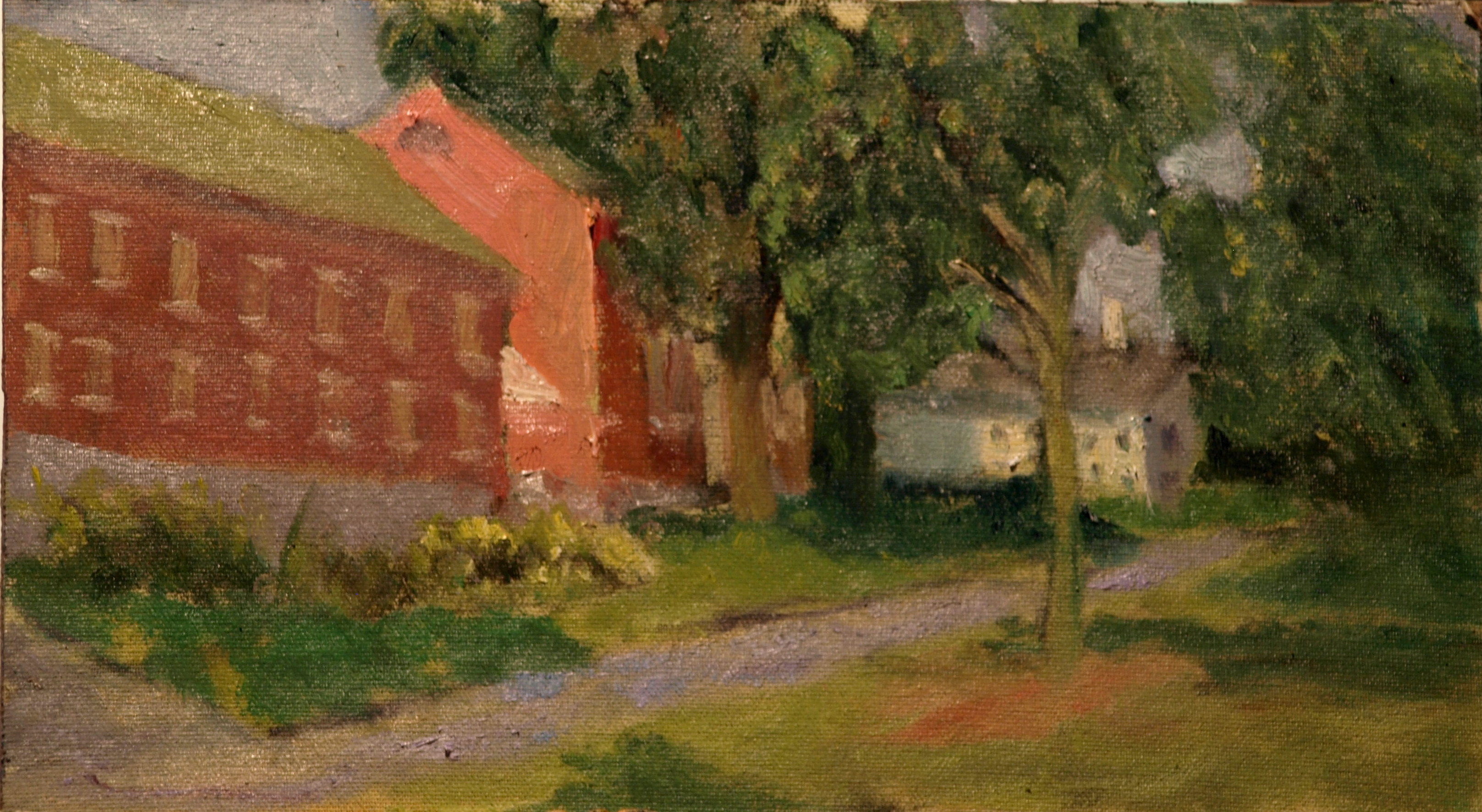 Along Litchfield Green, Oil on Canvas on Panel, 8 x 14 Inches, by Richard Stalter, $225