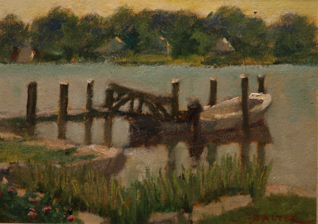 Mystic River Dock, Oil on Canvas on Panel, 9 x 12 Inches, by Richard Stalter, $225