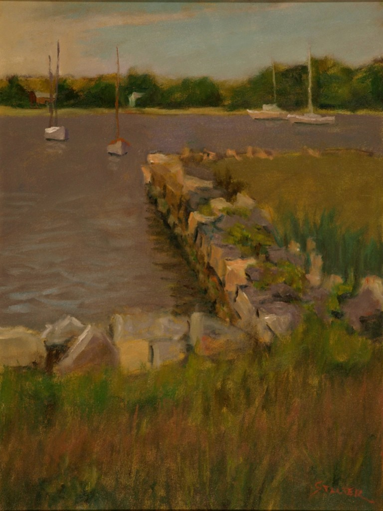 Stonington Marina, Oil on Canvas, 24 x 18 Inches, by Richard Stalter, $600