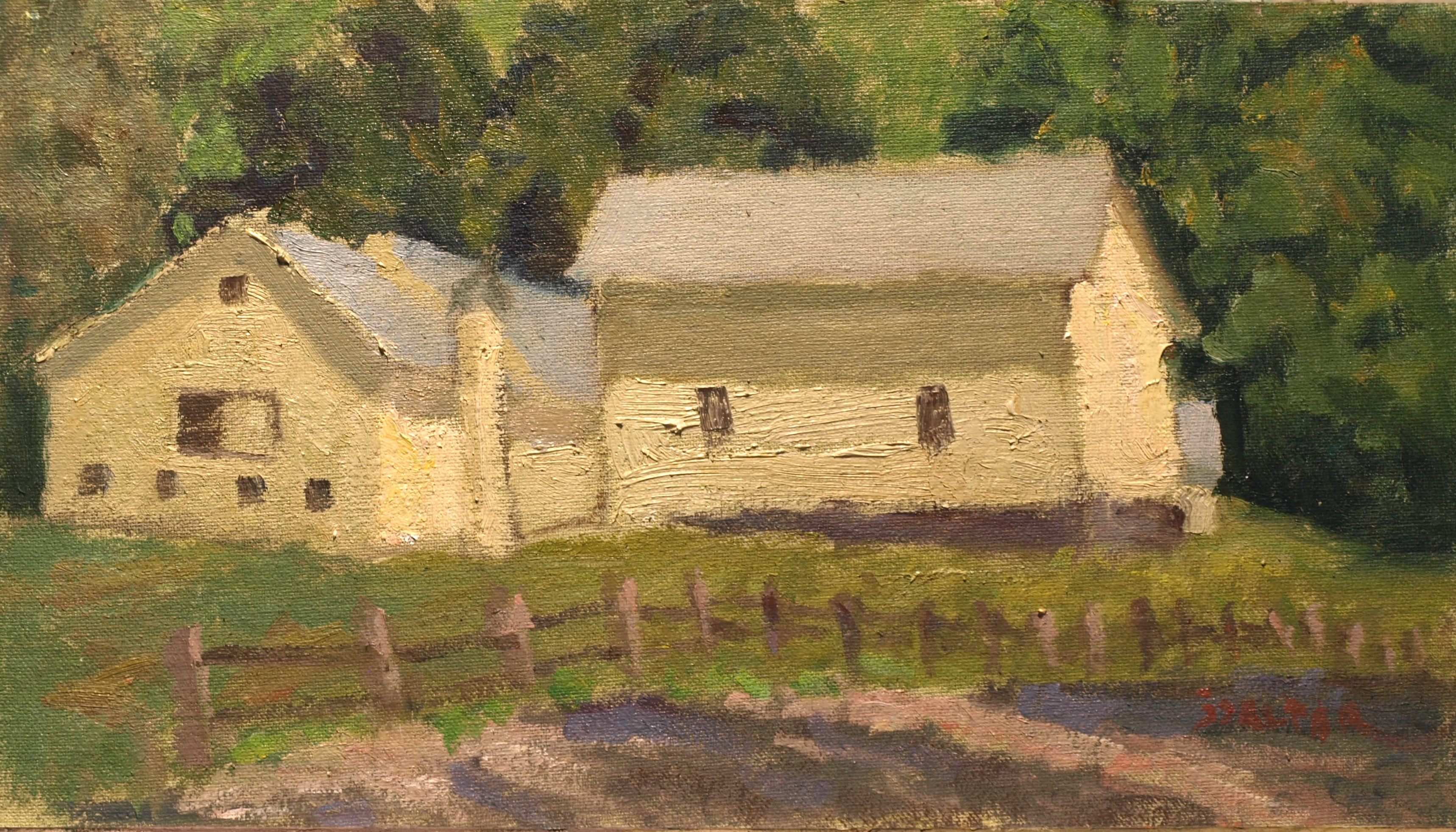 Yellow Barns - Afternoon, Oil on Canvas on Panel, 8 x 14 Inches, by Richard Stalter, $225