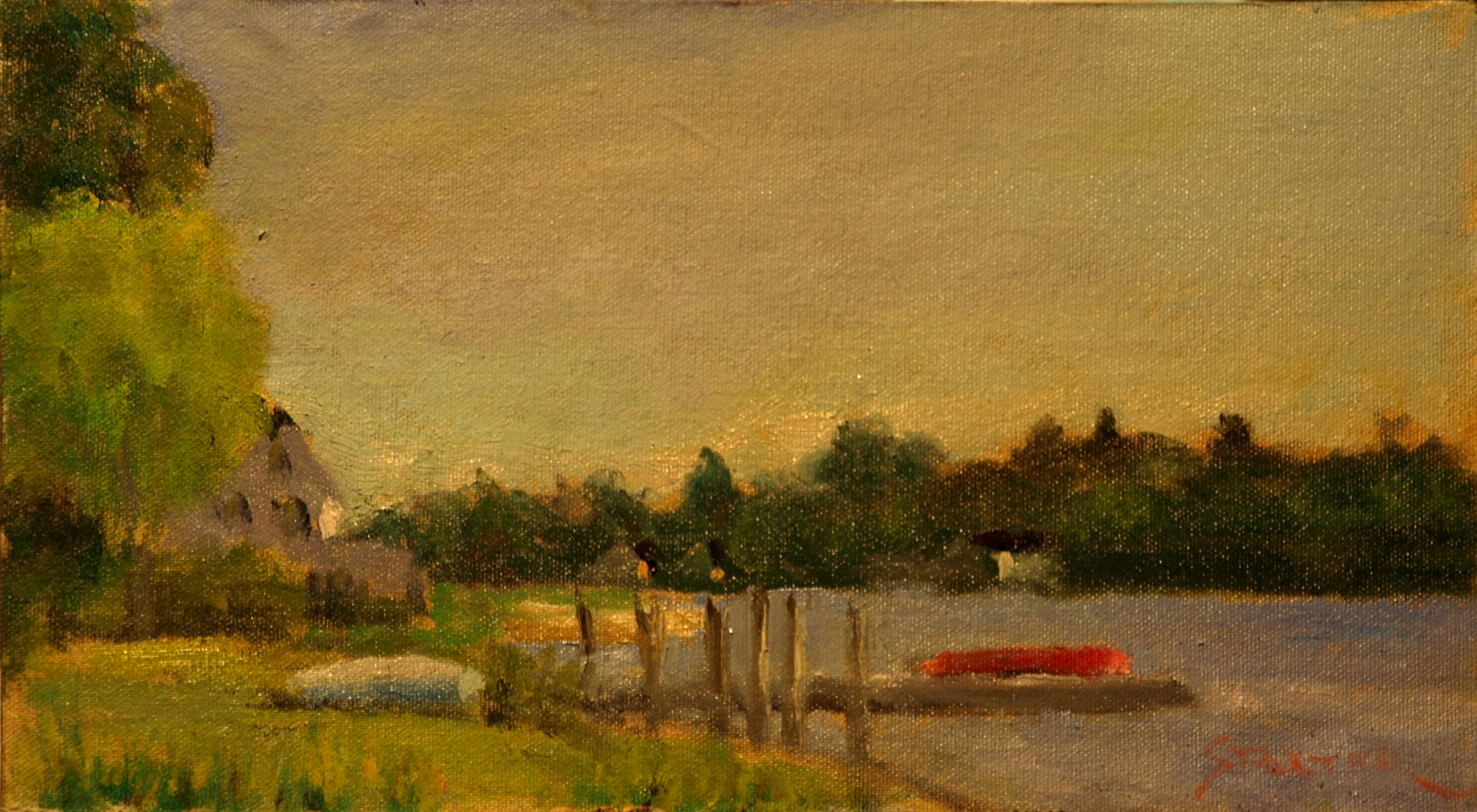 Mystic River Shore, Oil on Canvas on Panel, 8 x 14 Inches, by Richard Stalter, $225