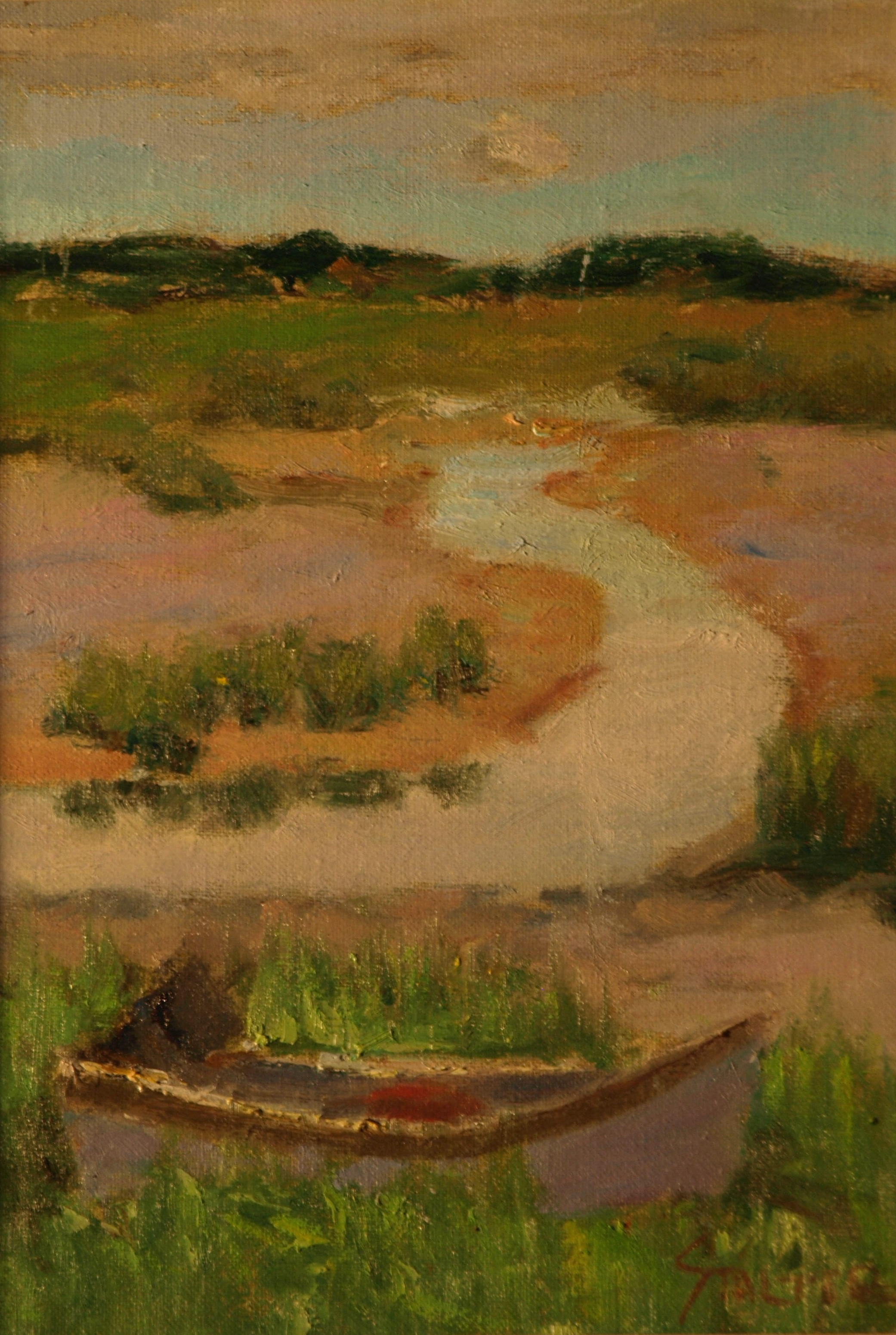 Rowboat in Marsh, Oil on Canvas on Panel, 12 x 9 Inches, by Richard Stalter, $225