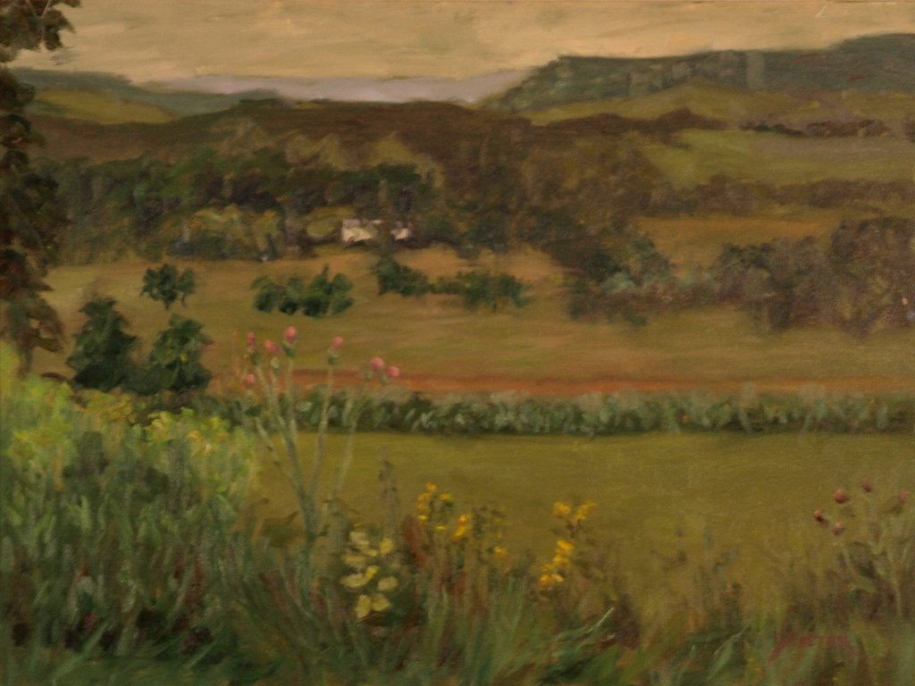 Vista Near Amenia New York, Oil on Canvas, 18 x 24 Inches, by Richard Stalter, $600