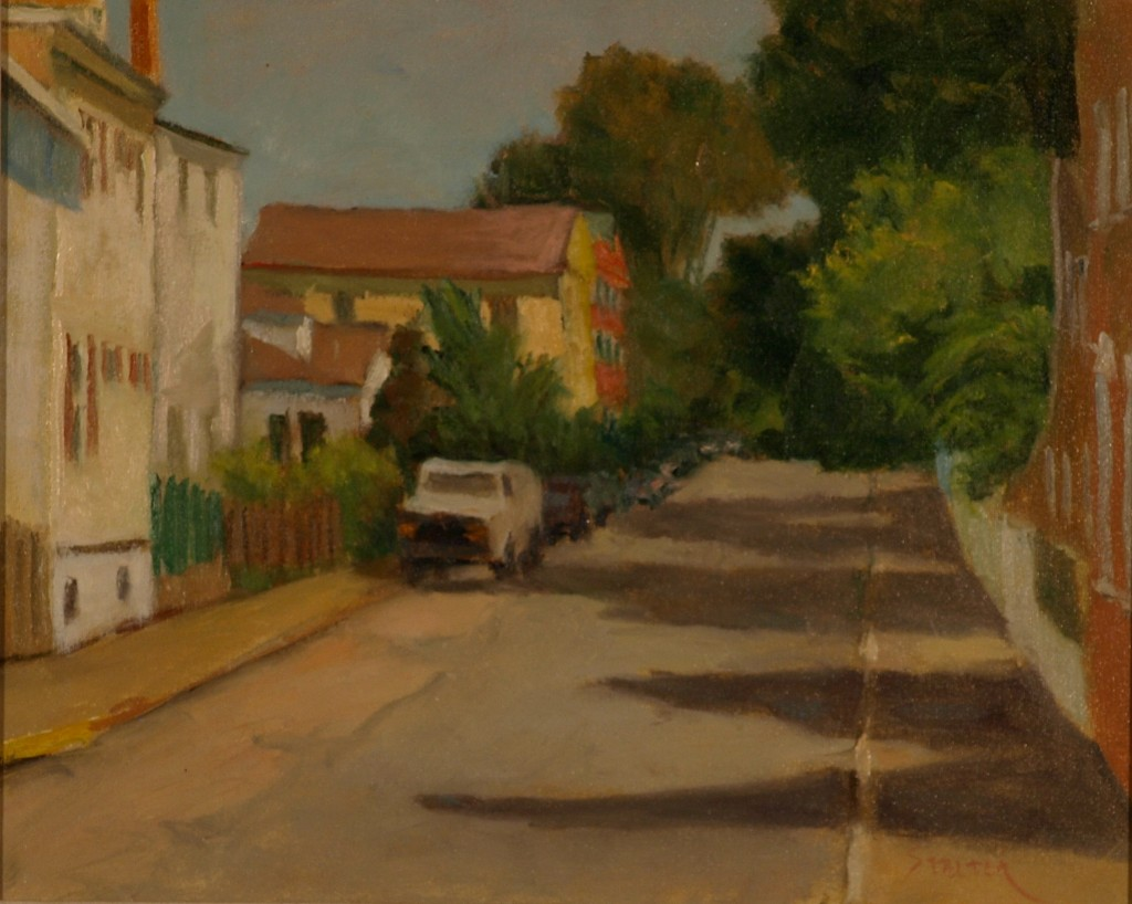 Back Street - Stonington, Oil on Canvas, 16 x 20 Inches, by Richard Stalter, $450