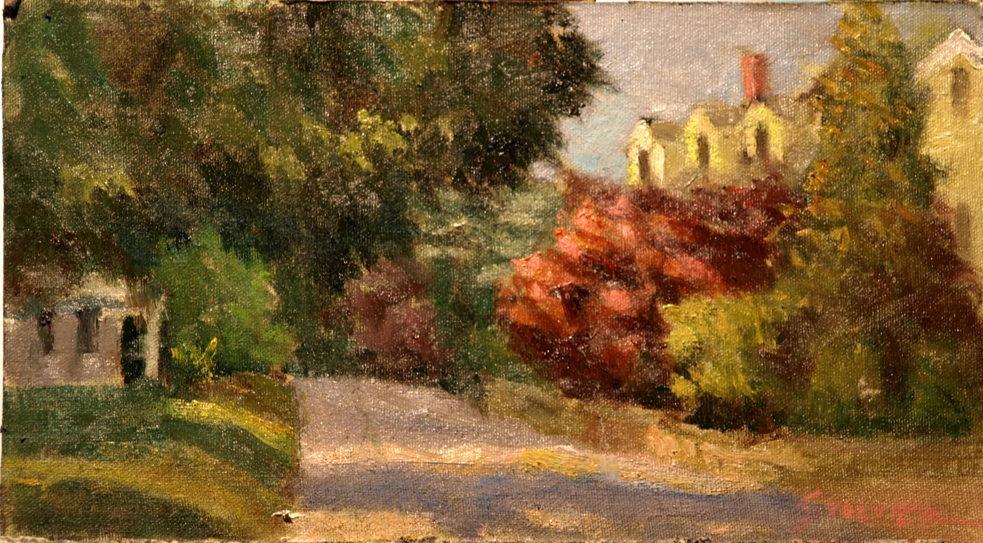 North Stonington Street, Oil on Canvas on Panel, 8 x 14 Inches, by Richard Stalter, $225