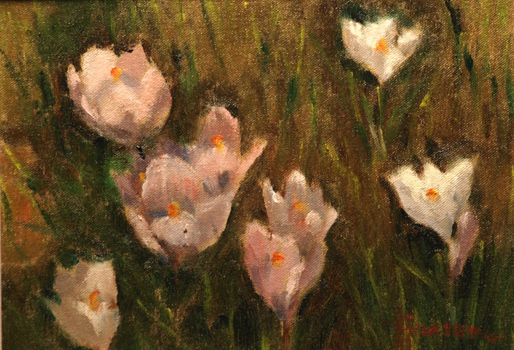 White Crocuses, Oil on Canvas on Panel, 9 x 12 Inches, by Richard Stalter, $225