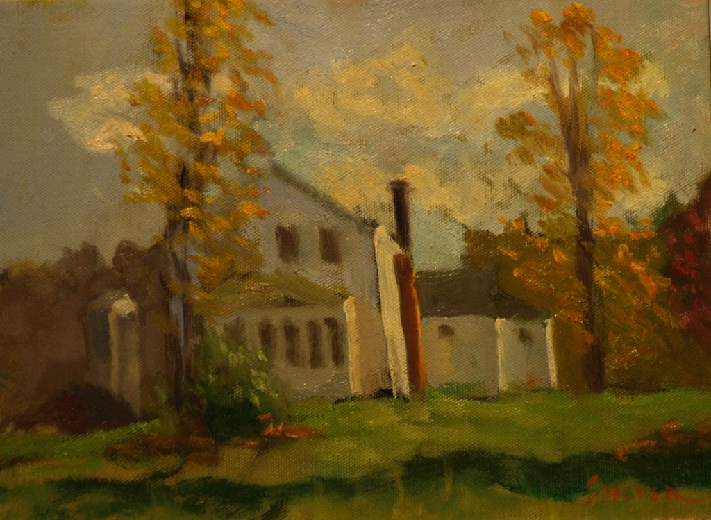 Lindburgh Home in Autumn, Oil on Canvas, 9 x 12 Inches, by Richard Stalter, $225