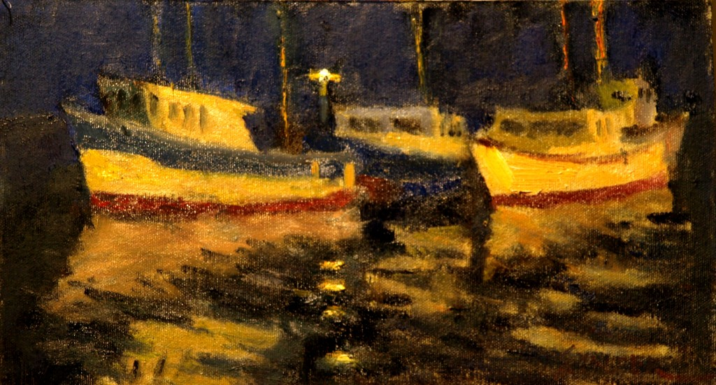 Night Reflections, Oil on Canvas on Panel, 8 x 14 Inches, by Richard Stalter, $225