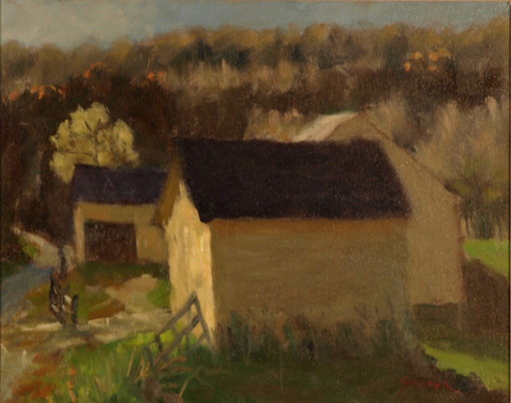 Yellow Barns - Autumn Sunlight, Oil on Canvas, 16 x 20 Inches, by Richard Stalter, $450
