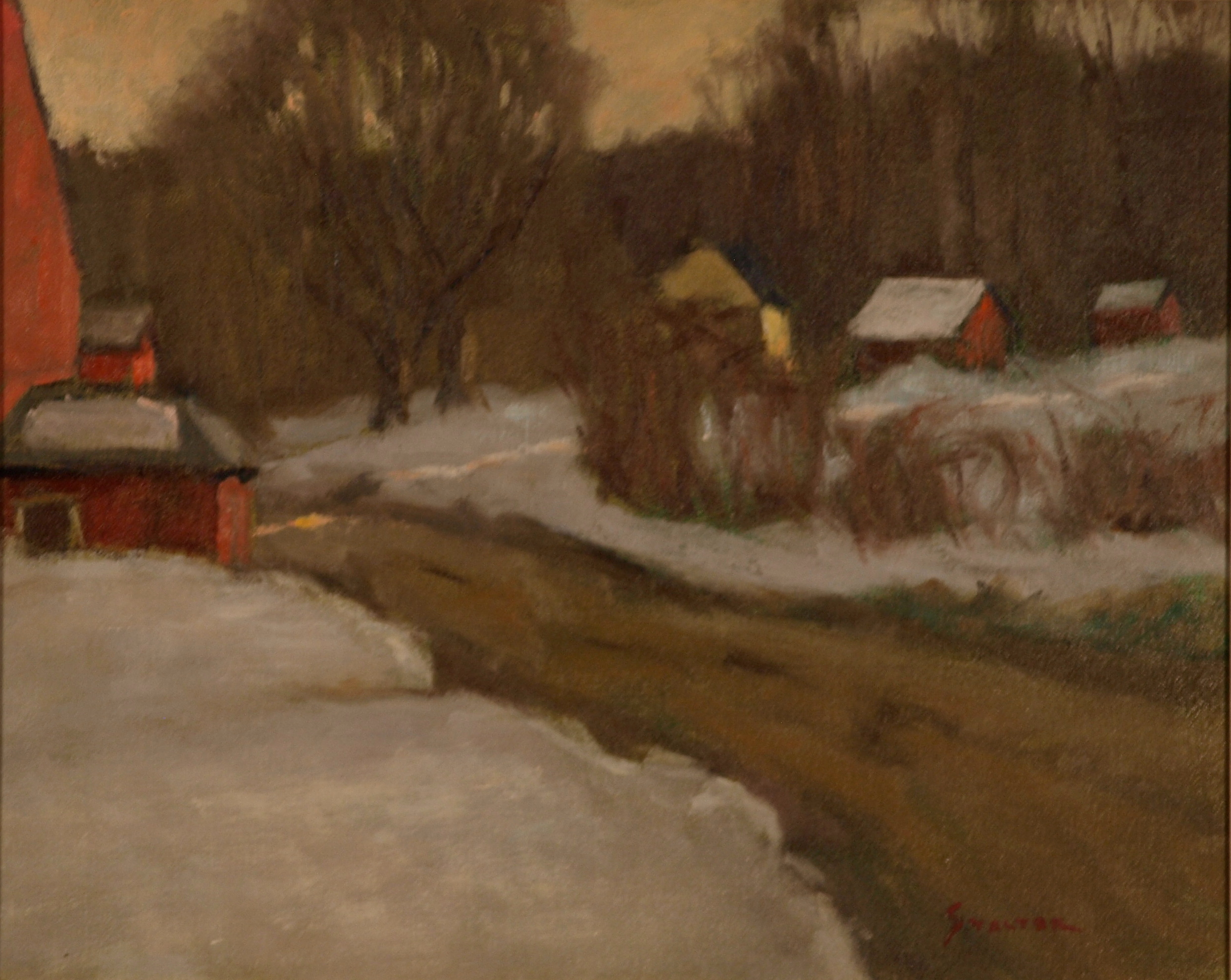 Late Snowy Afternoon - Newton's, Oil on Canvas, 16 x 20 Inches, by Richard Stalter, $450