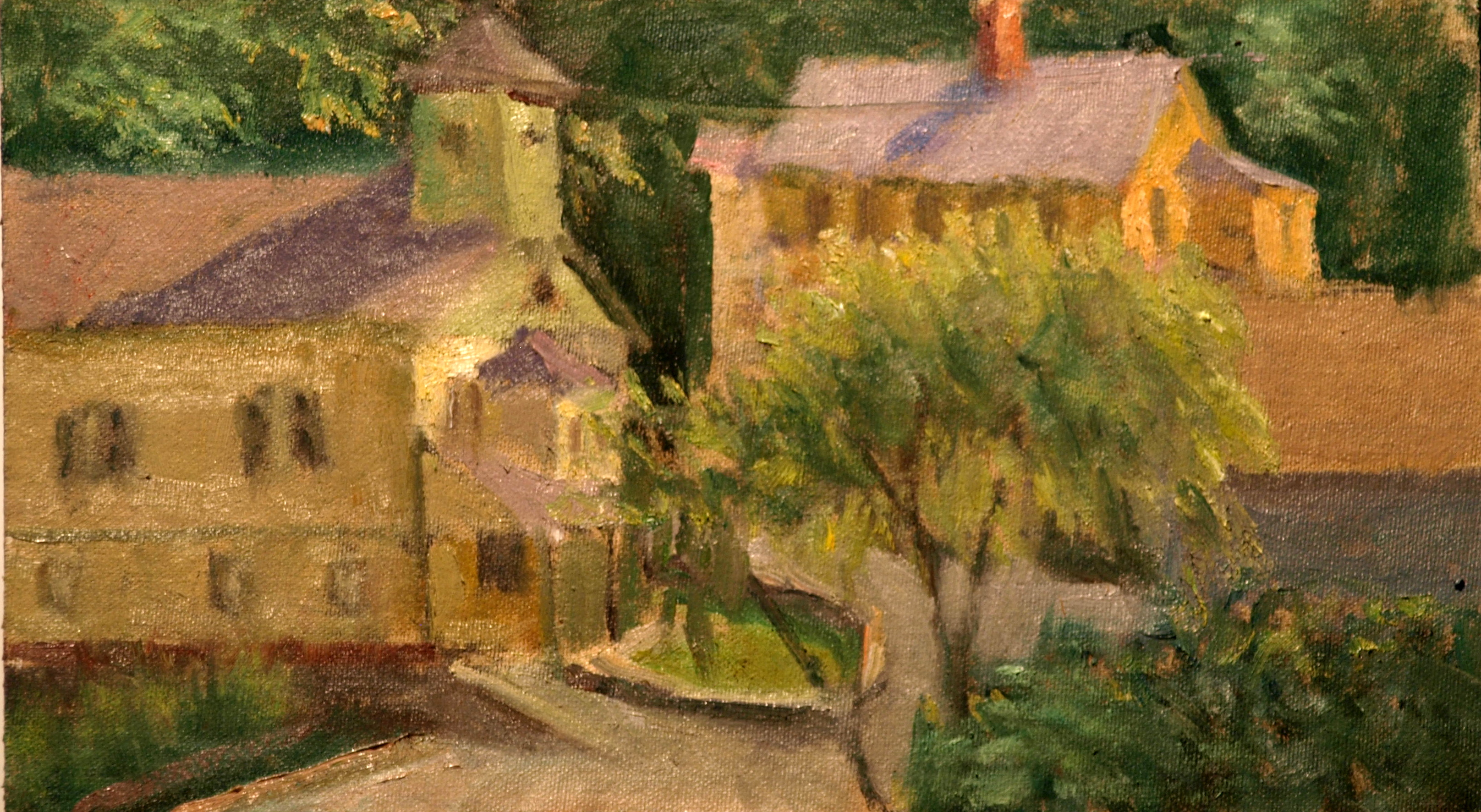 New Preston, Oil on Canvas on Panel, 8 x 14 Inches, by Richard Stalter, $225