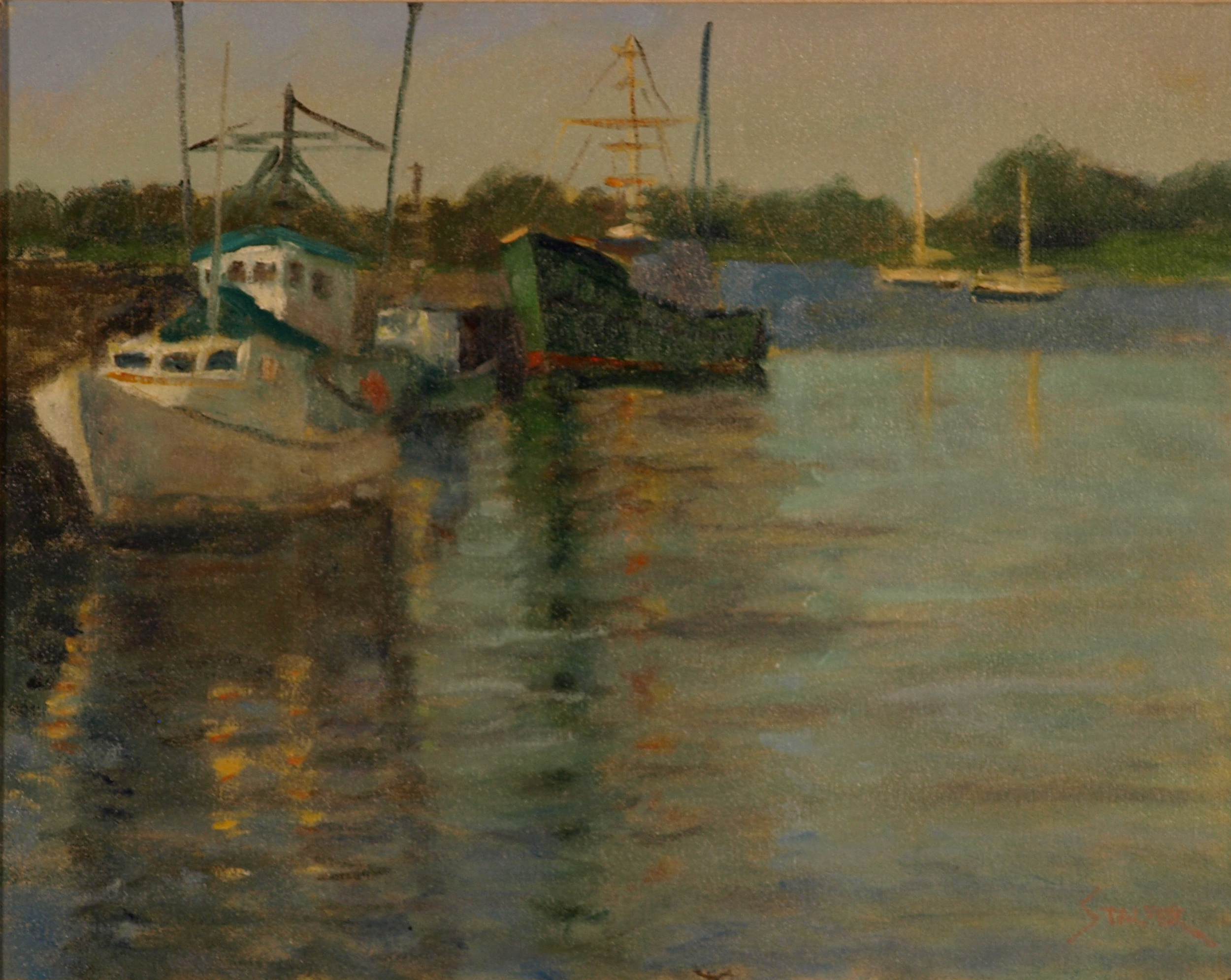 Harbor Reflections, Oil on Canvas, 16 x 20 Inches, by Richard Stalter, $450