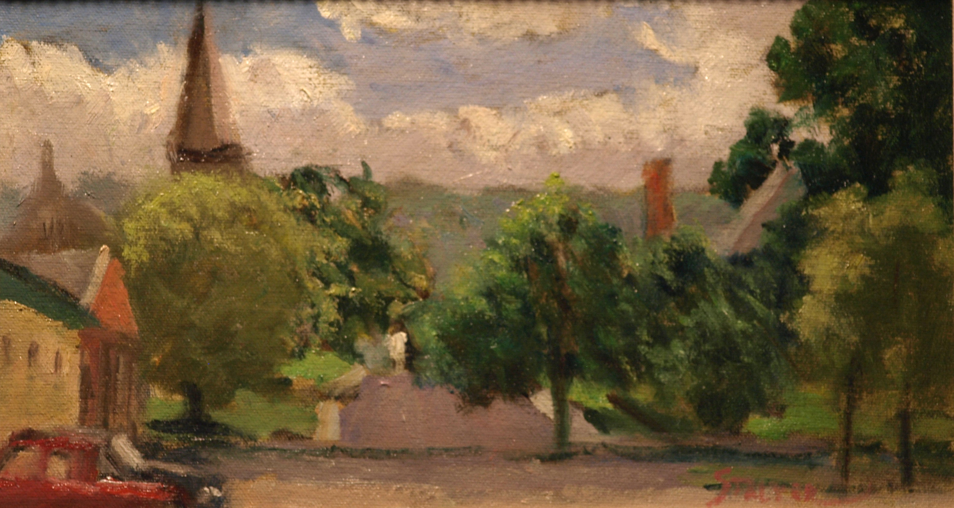 New Milford Green, Oil on Canvas on Panel, 8 x 14 Inches, by Richard Stalter, $225