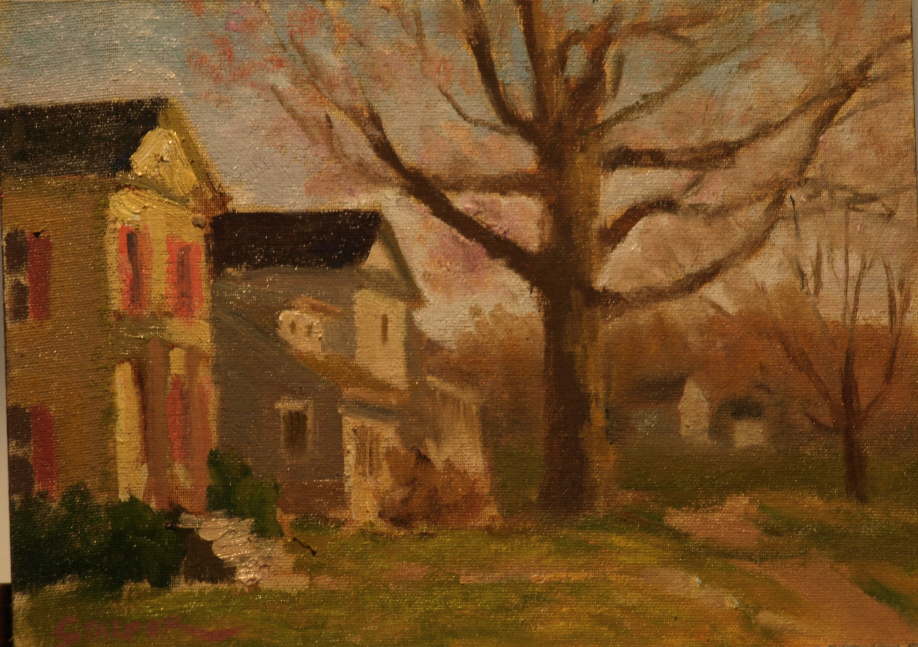 Main Street - New Milford, Oil on Canvas on Panel, 9 x 12 Inches, by Richard Stalter, $225