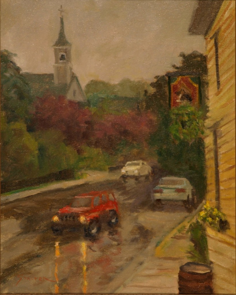 Rainy Day in Mystic, Oil on Canvas, 20 x 16 Inches, by Richard Stalter, $450
