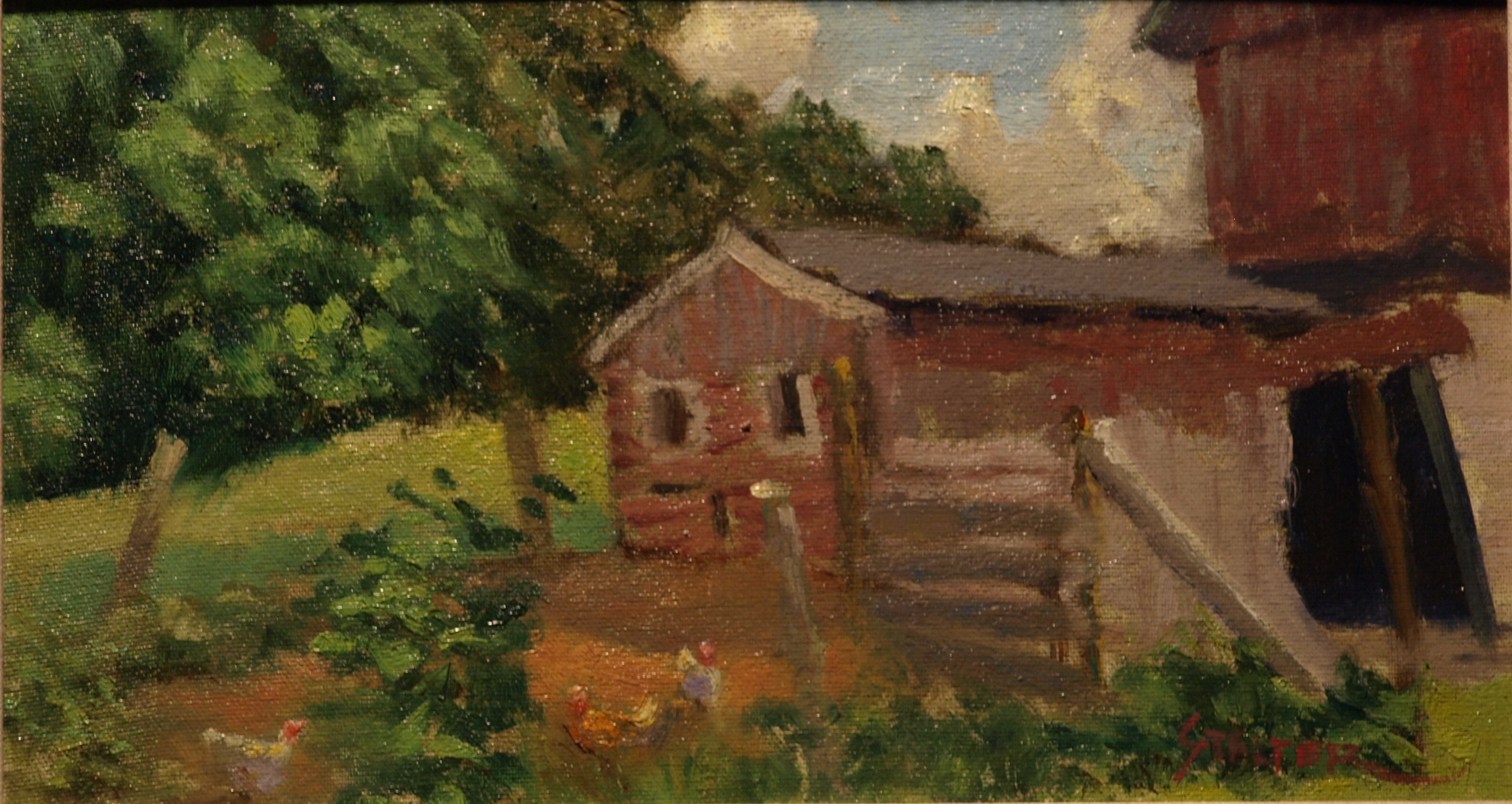 Chicken Yard, Oil on Canvas on Panel, 8 x 14 Inches, by Richard Stalter, $225