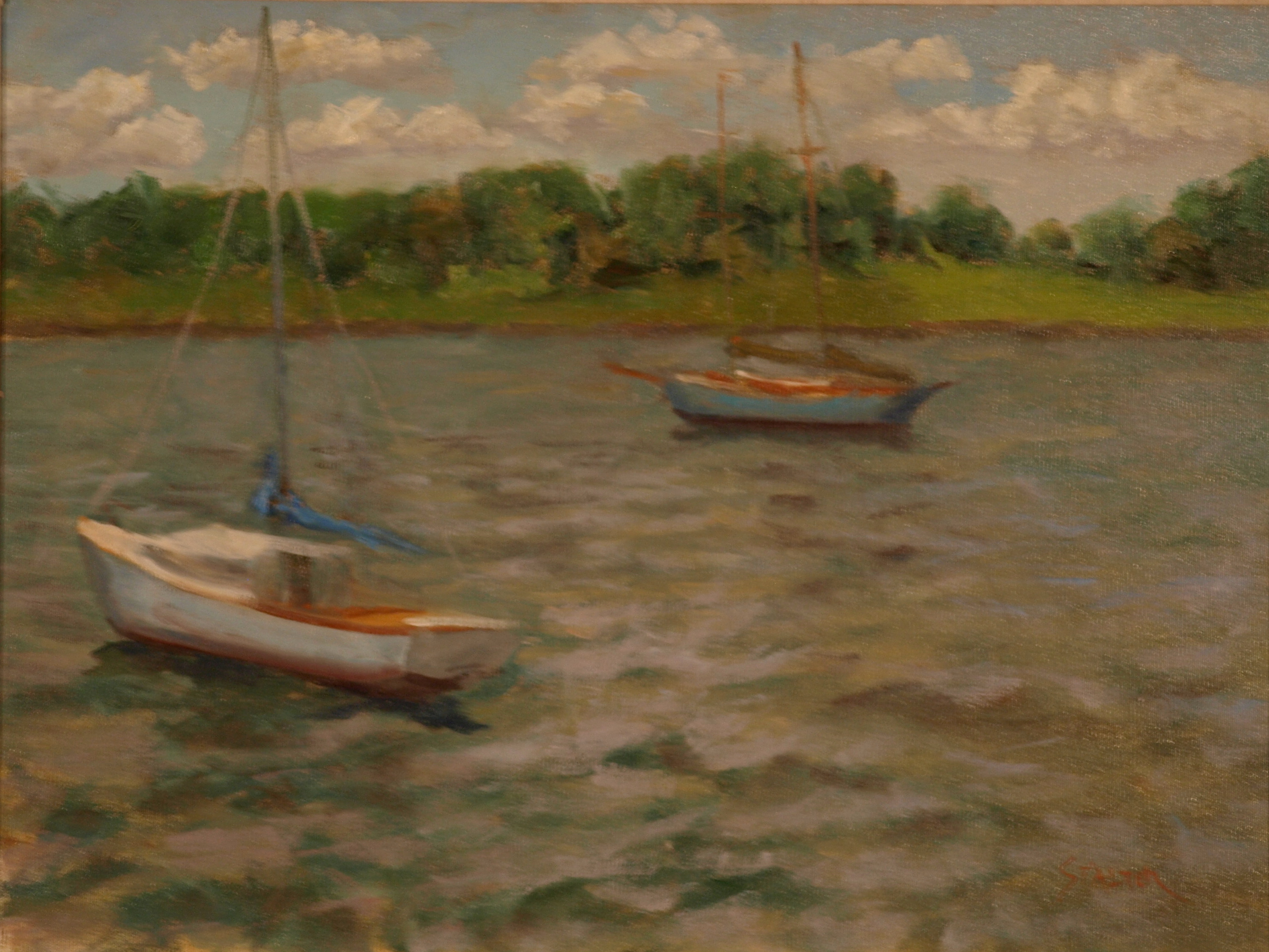 Choppy Water off Stonington, Oil on Canvas, 18 x 24 Inches, by Richard Stalter, $650