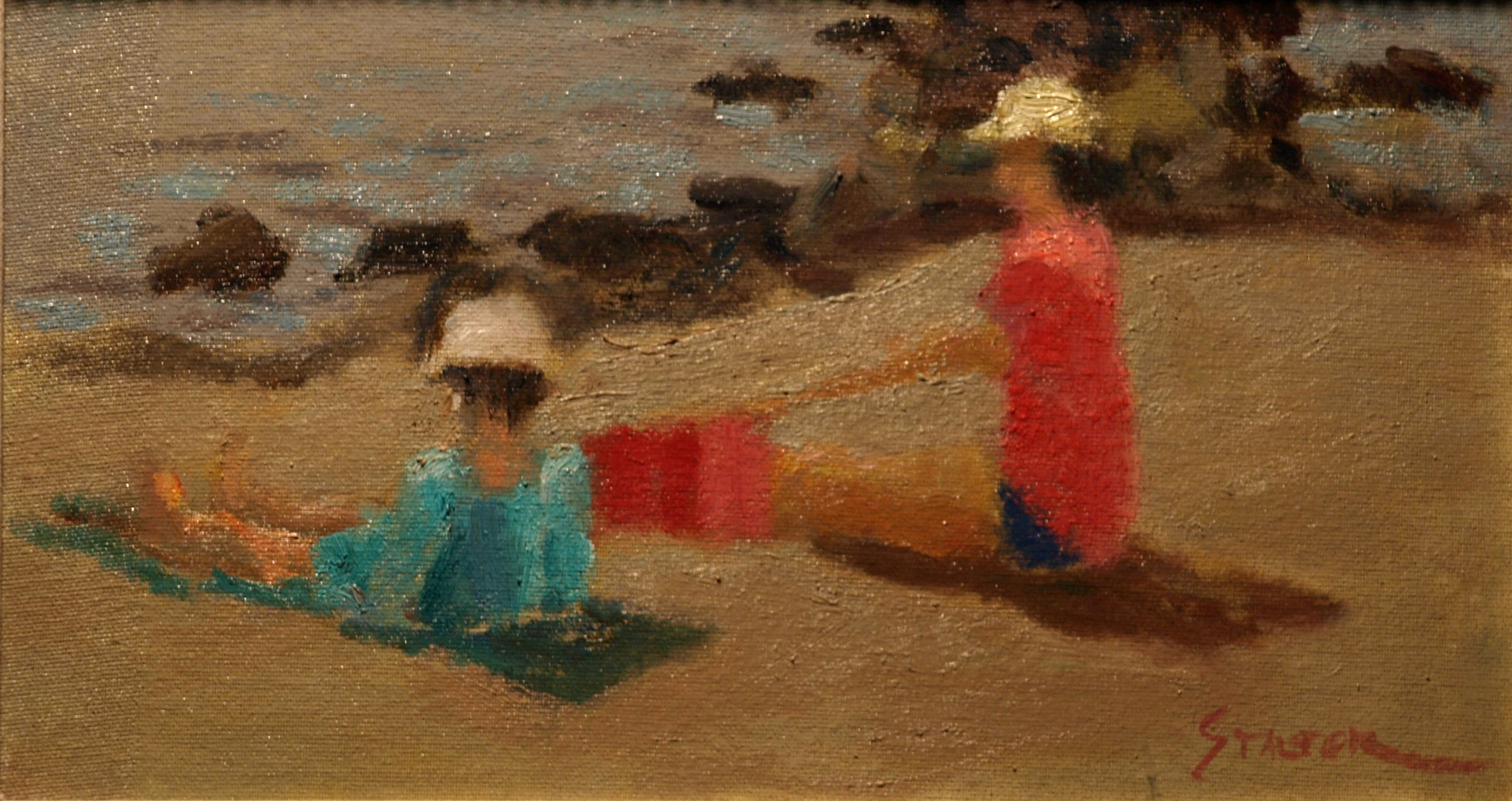 Beachgoers, Oil on Canvas on Panel, 8 x 14 Inches, by Richard Stalter, $225