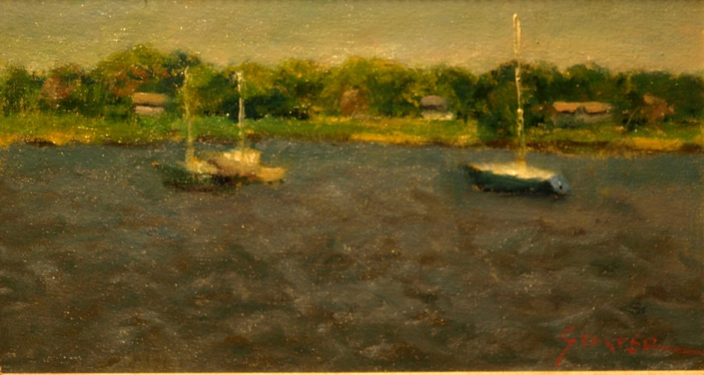 Choppy Waters, Oil on Canvas on Panel, 8 x 14 Inches, by Richard Stalter, $225