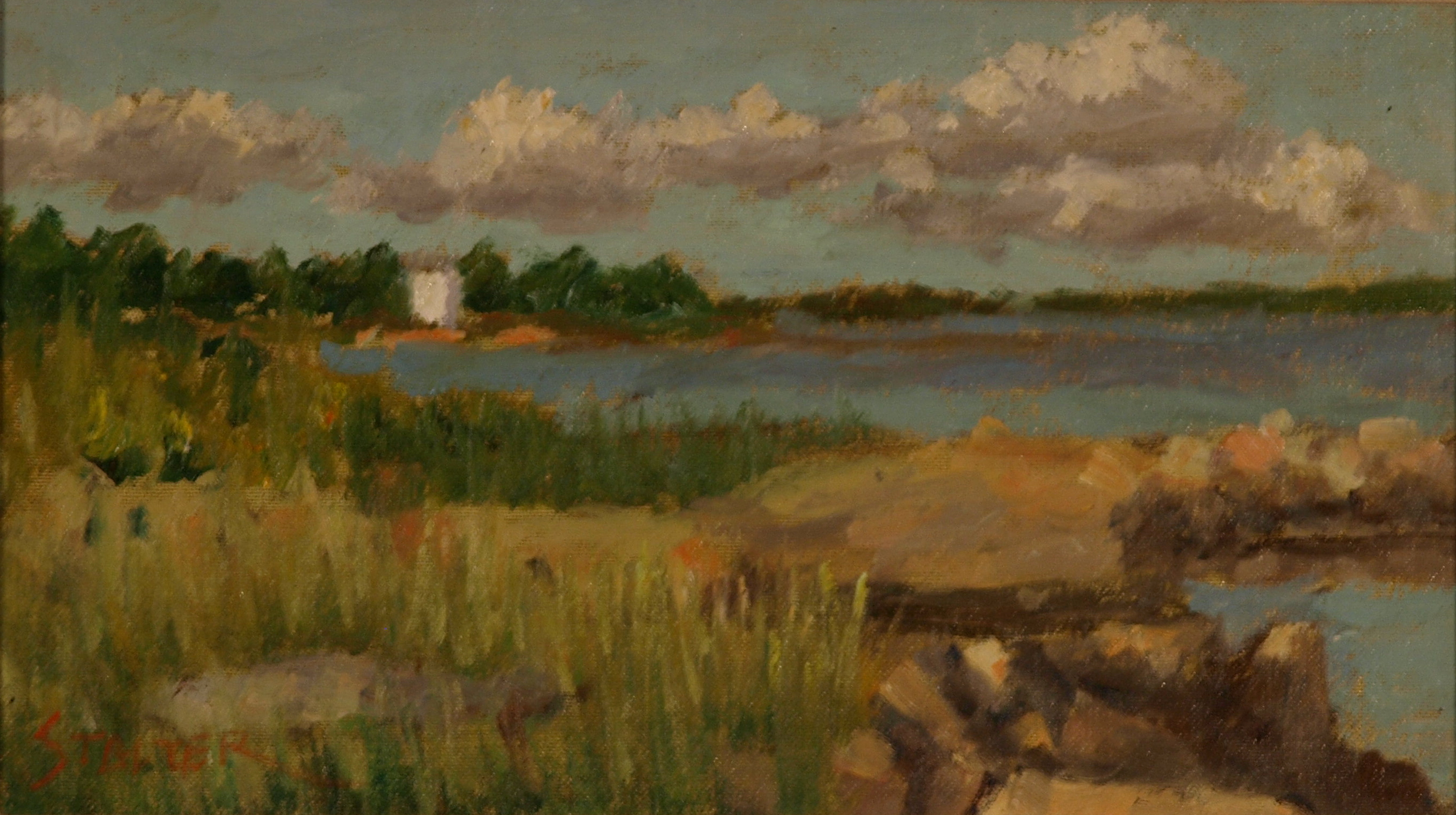 Sunny Day - Land Preserve, Oil on Canvas on Panel, 8 x 14 Inches, by Richard Stalter, $225