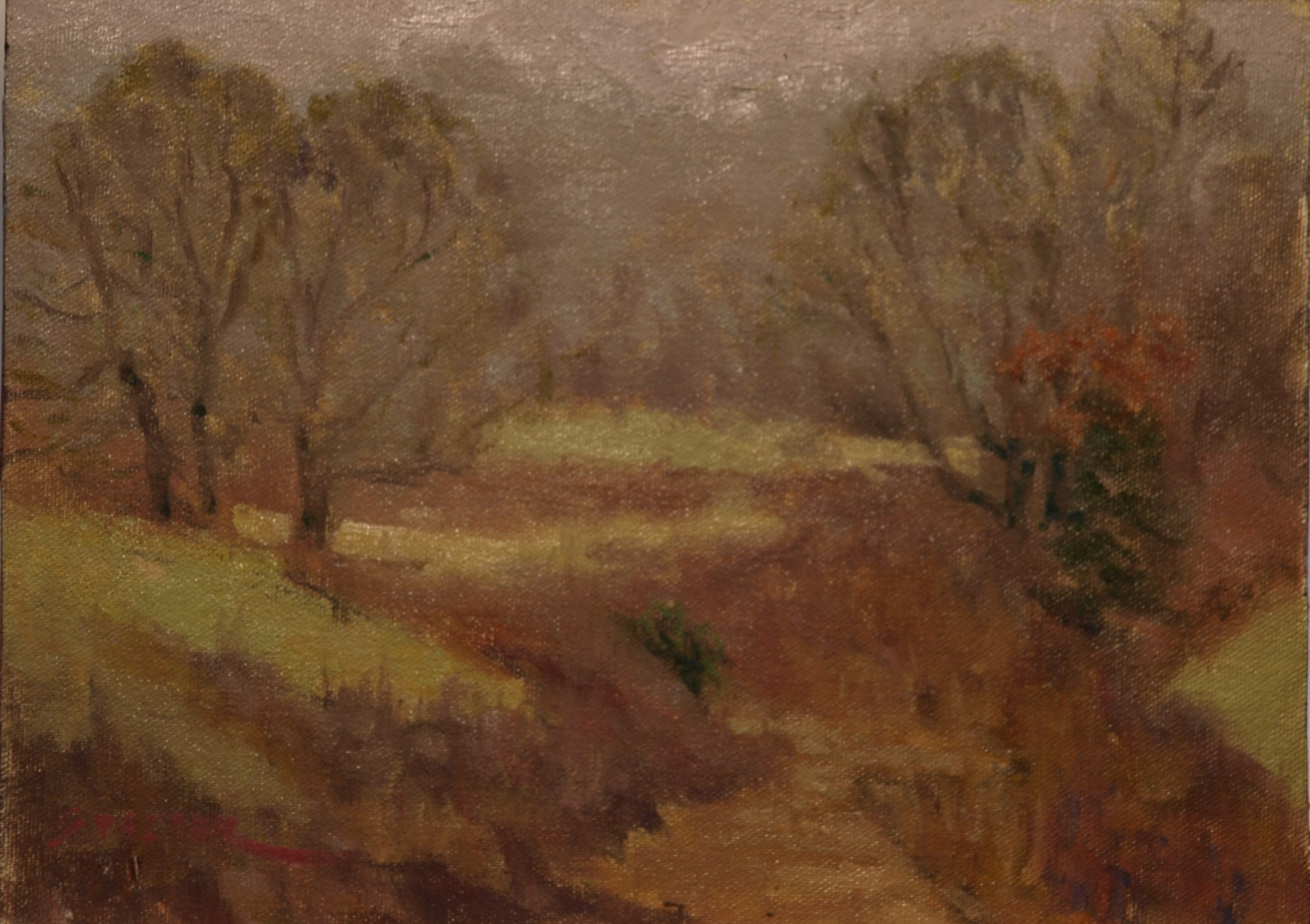 The Gully - Hazy Day, Oil on Canvas on Panel, 9 x 12 Inches, by Richard Stalter, $225