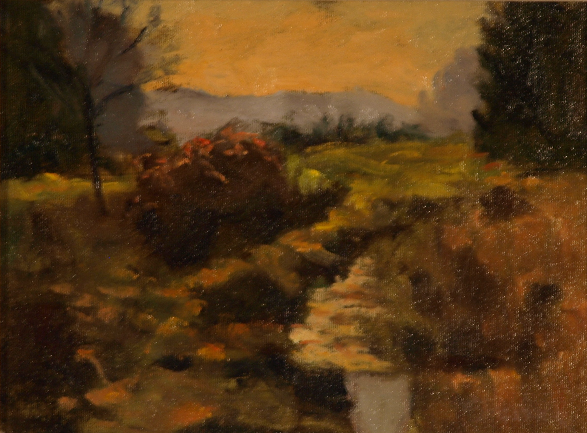 Brilliant Autumn Light, Oil on Canvas on Panel, 9 x 12 Inches, by Richard Stalter, $225