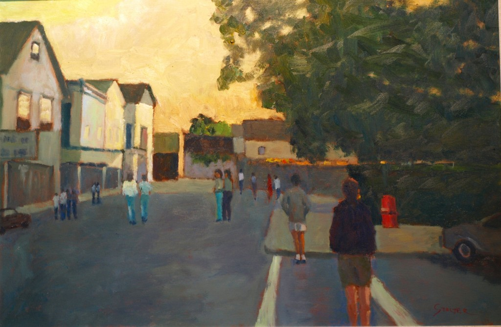 Commercial Street, Oil on Canvas, 24 x 36 Inches, by Richard Stalter, $1200
