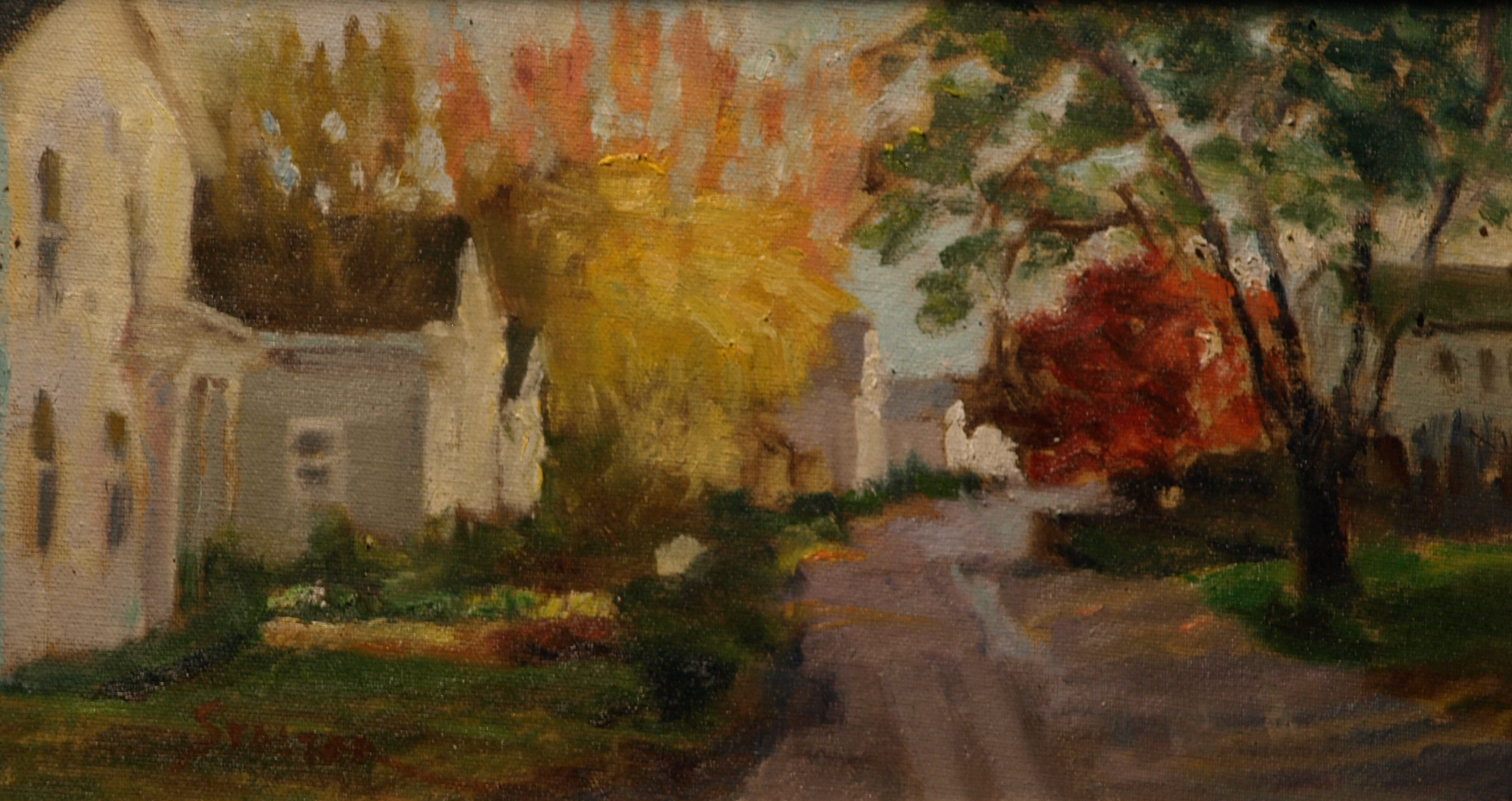 Street - Noank, Oil on Canvas on Panel, 8 x 14 Inches, by Richard Stalter, $225